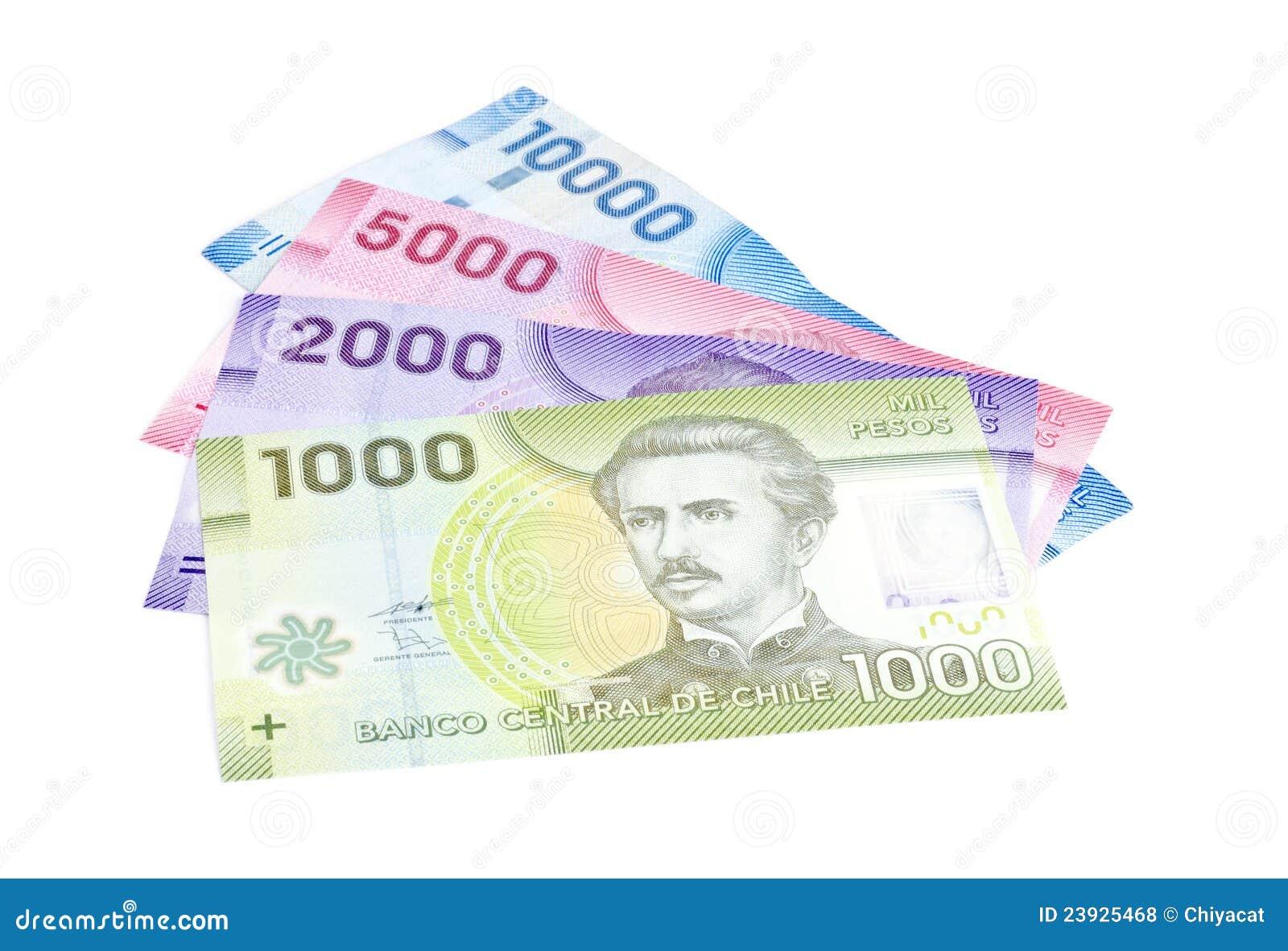 Primer de los Pesos chilenos coloridos aislados en blanco