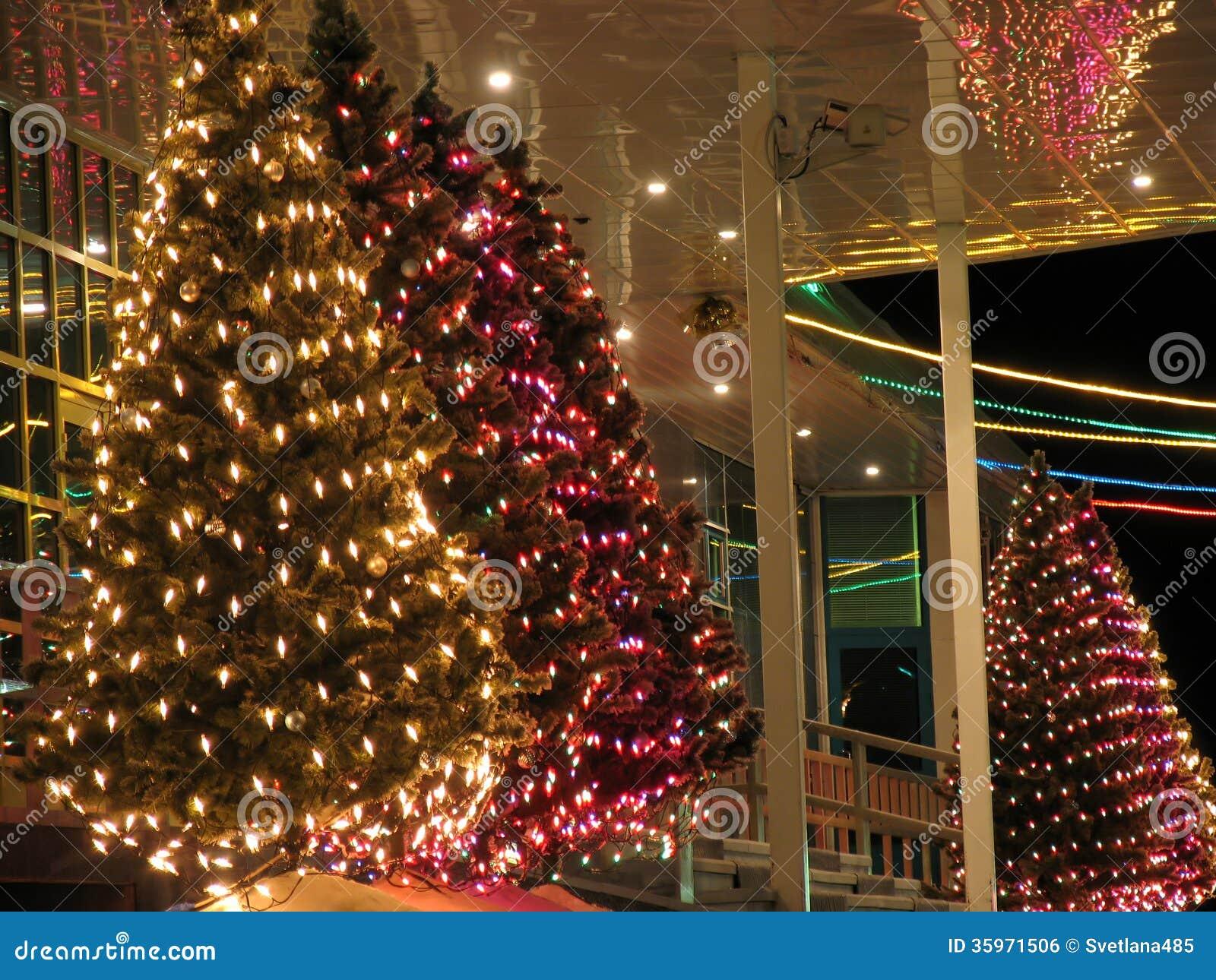 Primer del edificio de oficinas del pórtico. Decoraciones de la Navidad.