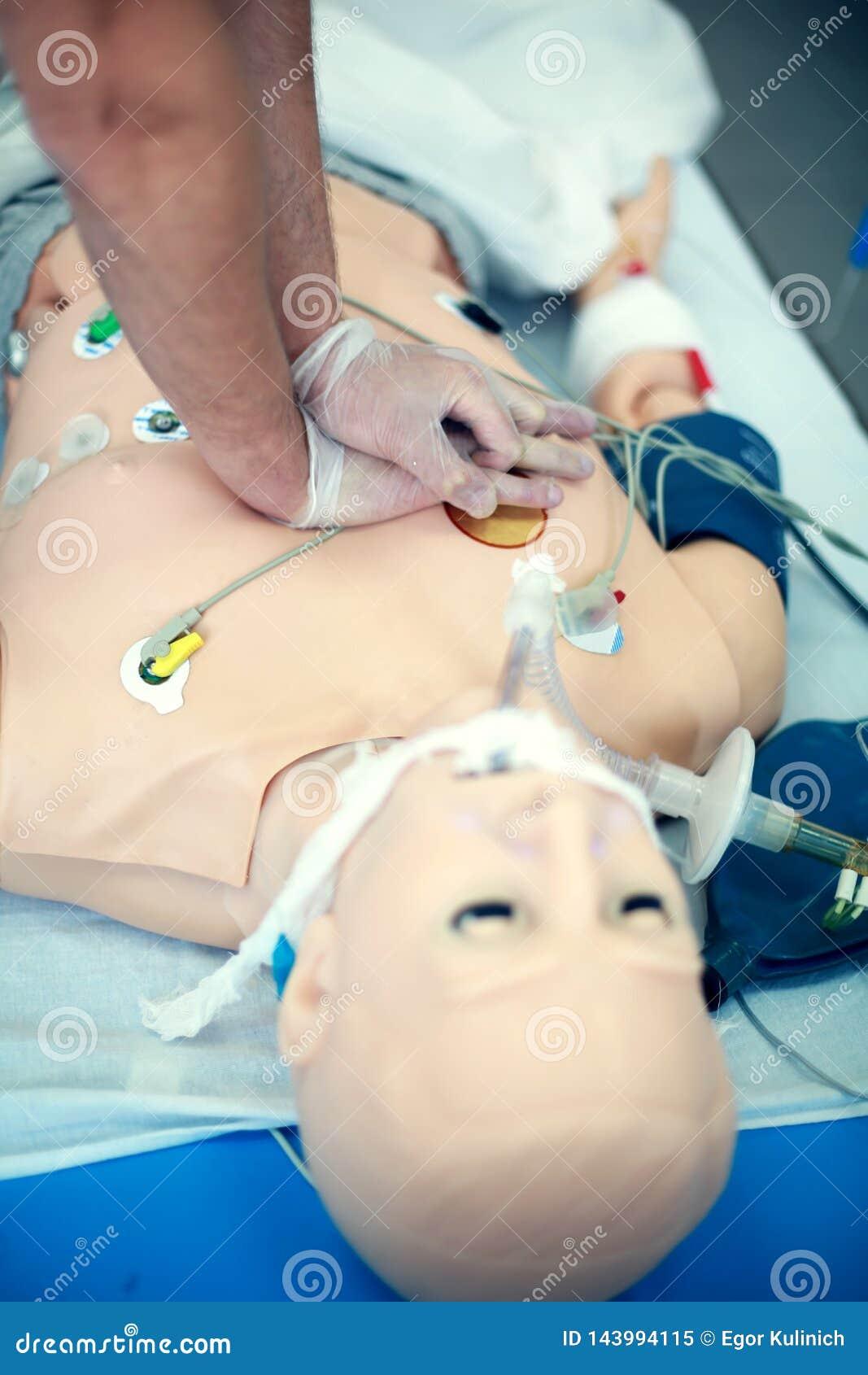Primer del entrenamiento del CPR Habilidades médicas practicantes en un maniquí médico Educación médica Technologie moderno