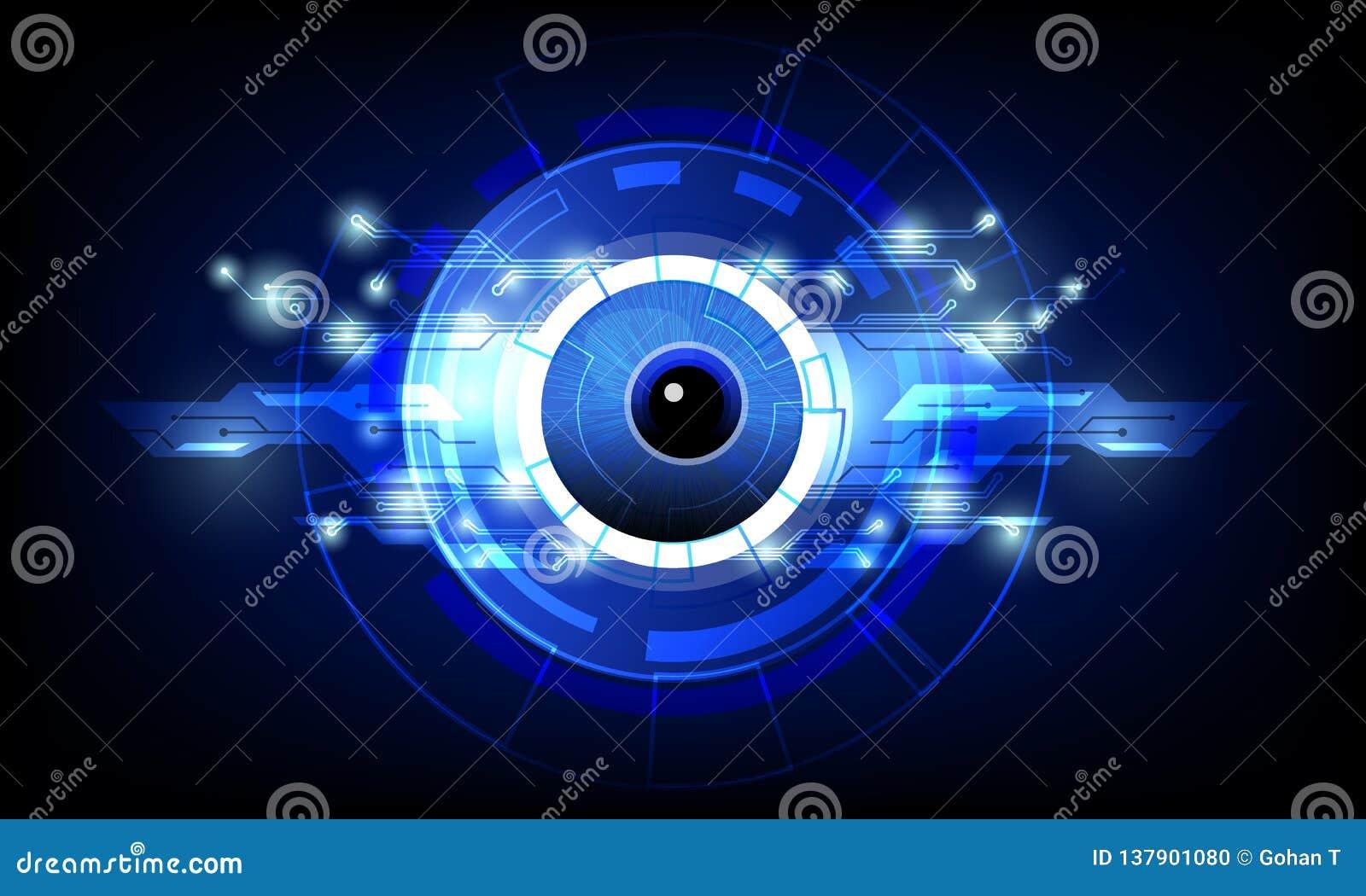 Primer del ojo con el fondo de alta tecnología azul marino de la tecnología del circuito de la conexión del concepto del ejemplo
