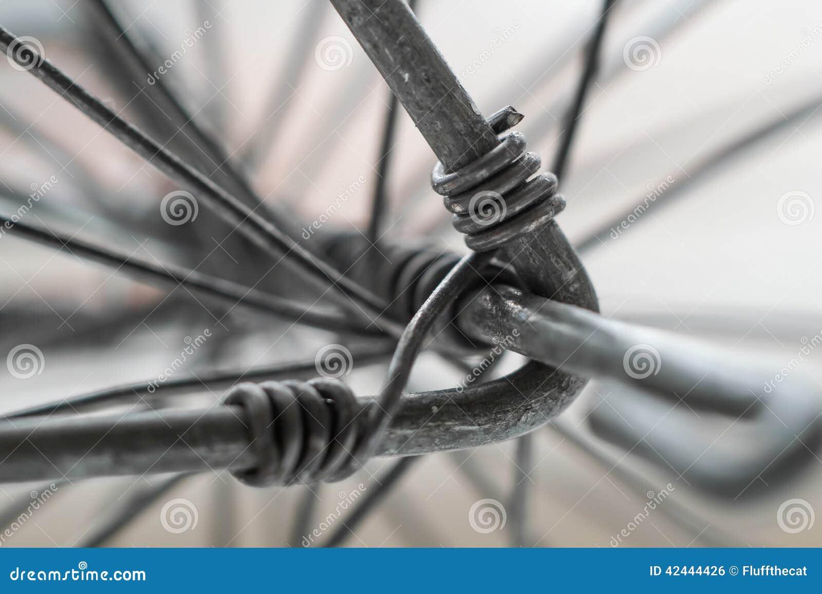 Primer macro del alambre de metal que tuerce para la rueda