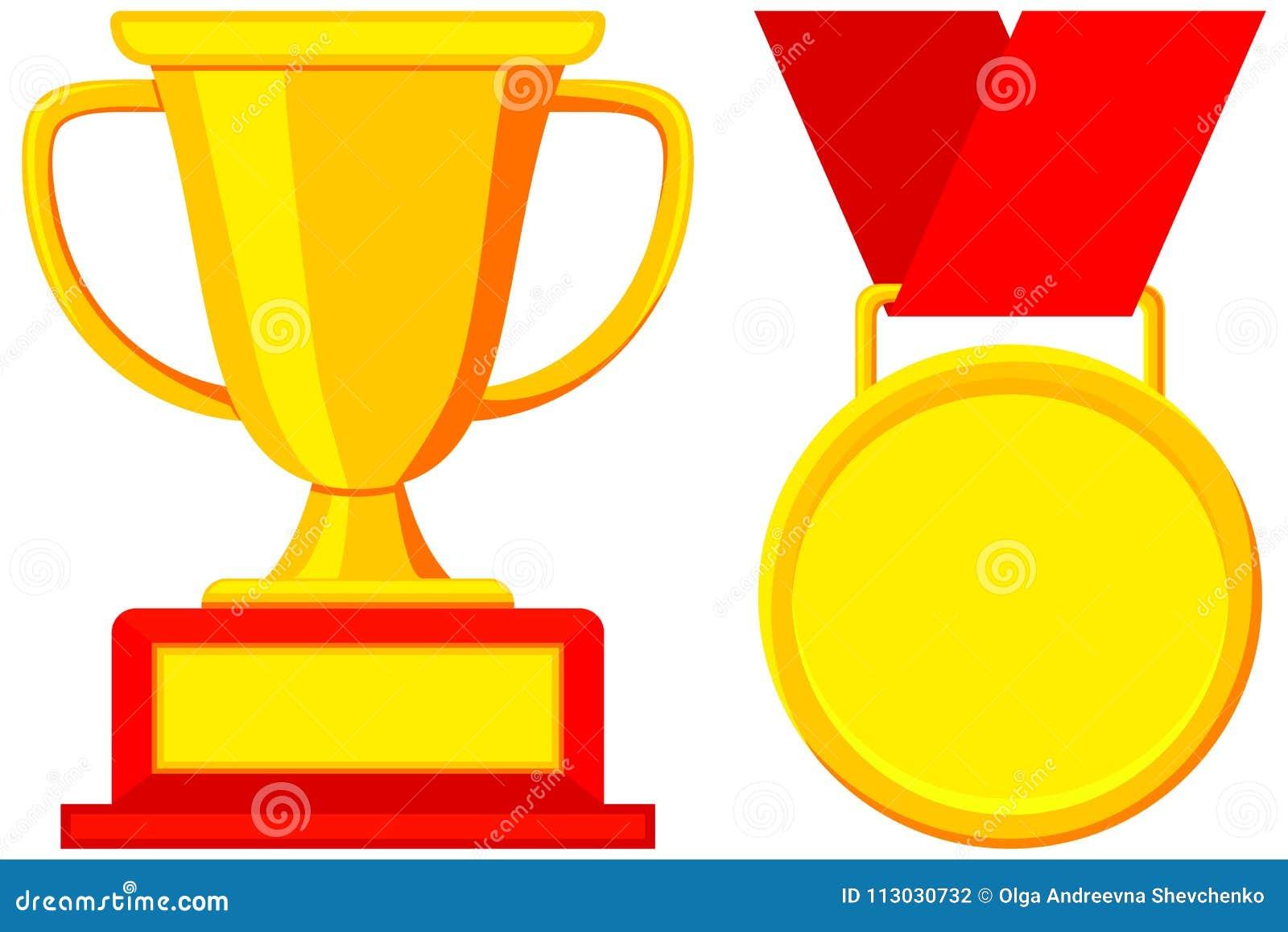 Primer sistema del icono de la medalla de la taza del premio del ganador del lugar