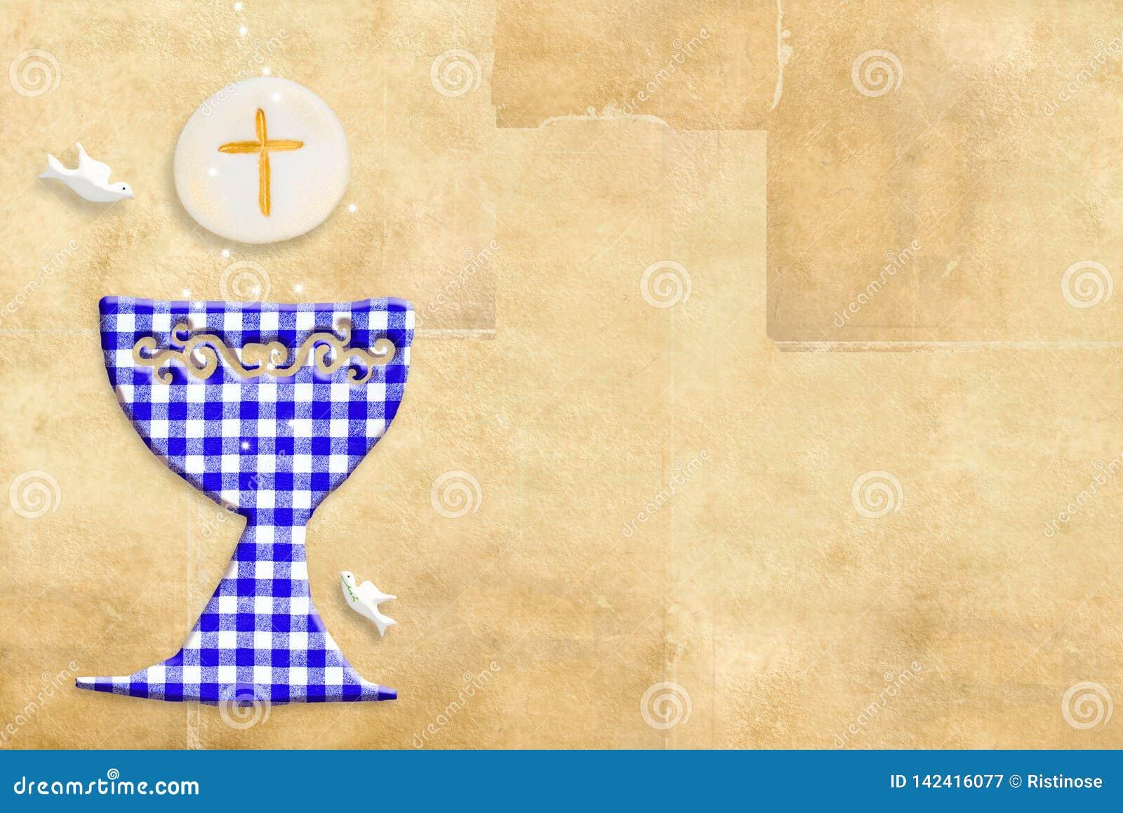 Primera tarjeta de la invitación de la comunión santa