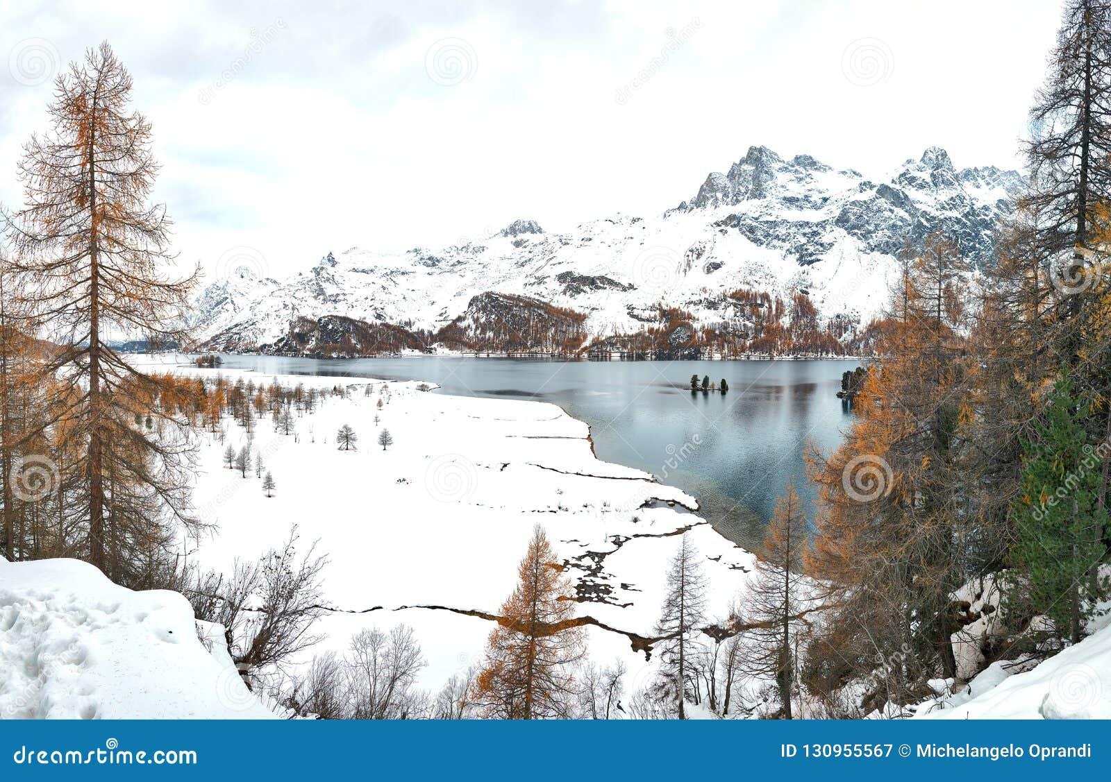 Primeras nevadas del otoño en el lago en el valle Suiza de Engadine