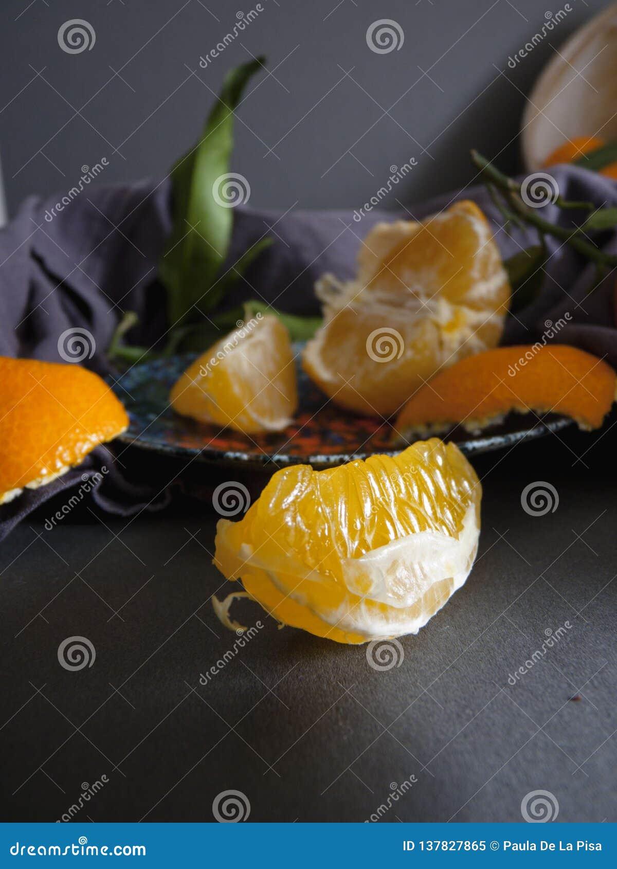 Primero plano de las clementinas Ensalada de fruta