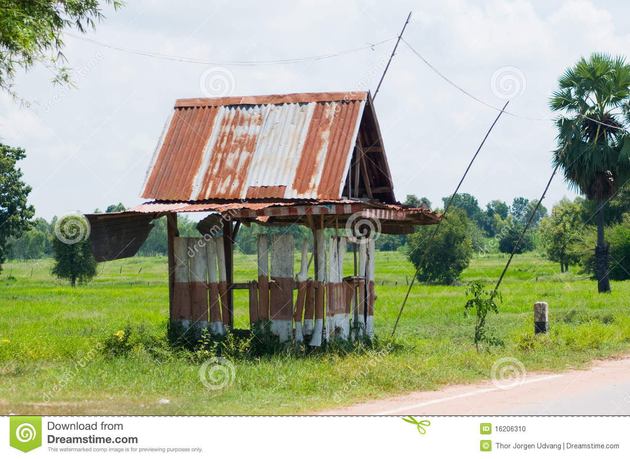 Bus Stop Shelter Plans : Primitive bus stop shelter in thailand stock photo image