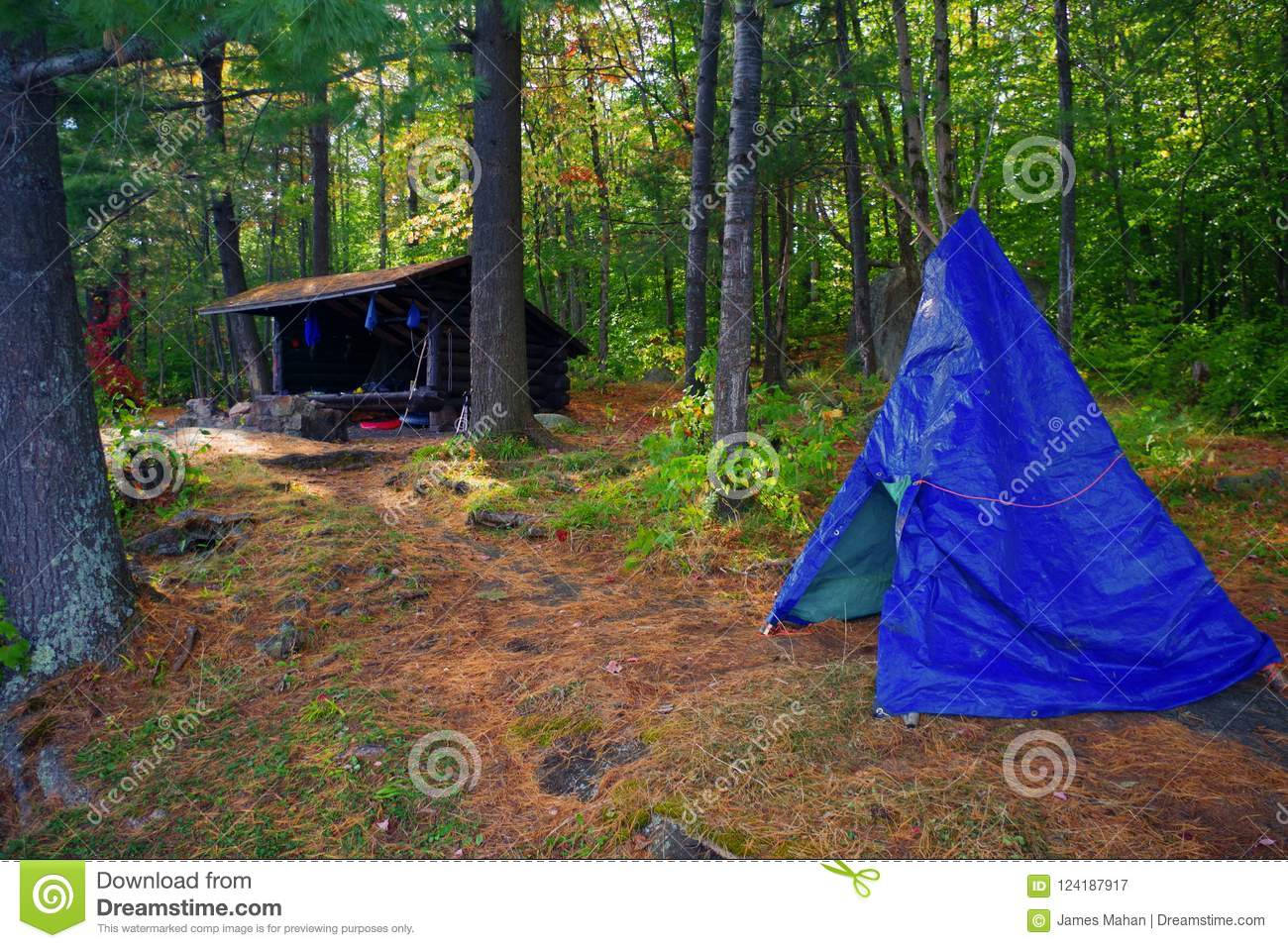 Primitive Bushcraft Campsite with a lean to and a tarp teepee in the Adirondack Mountain Wilderness.