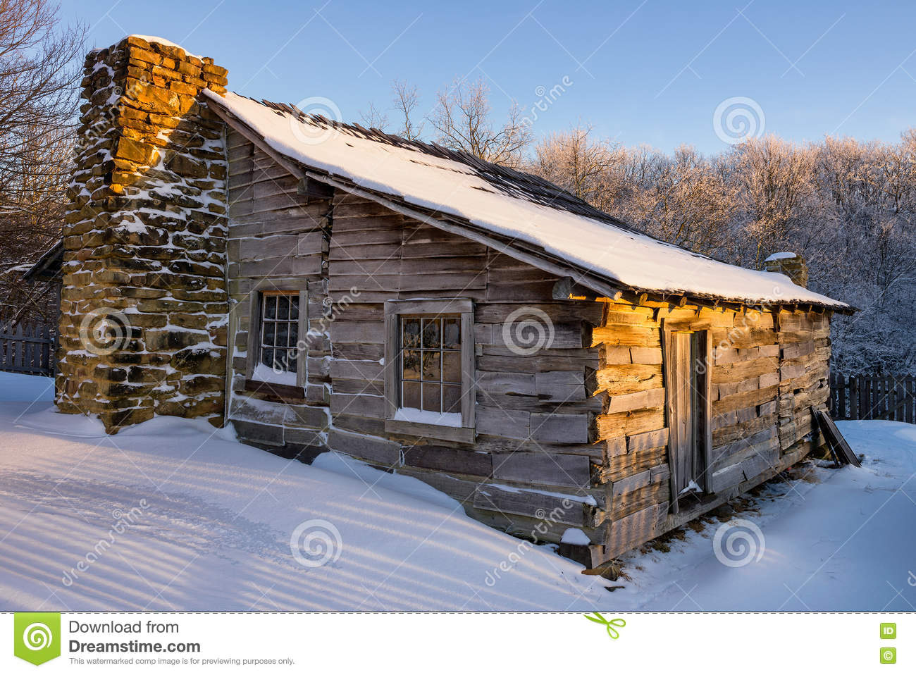 Primitive cabin winter scenic cumberland gap national for Primitive cabin plans