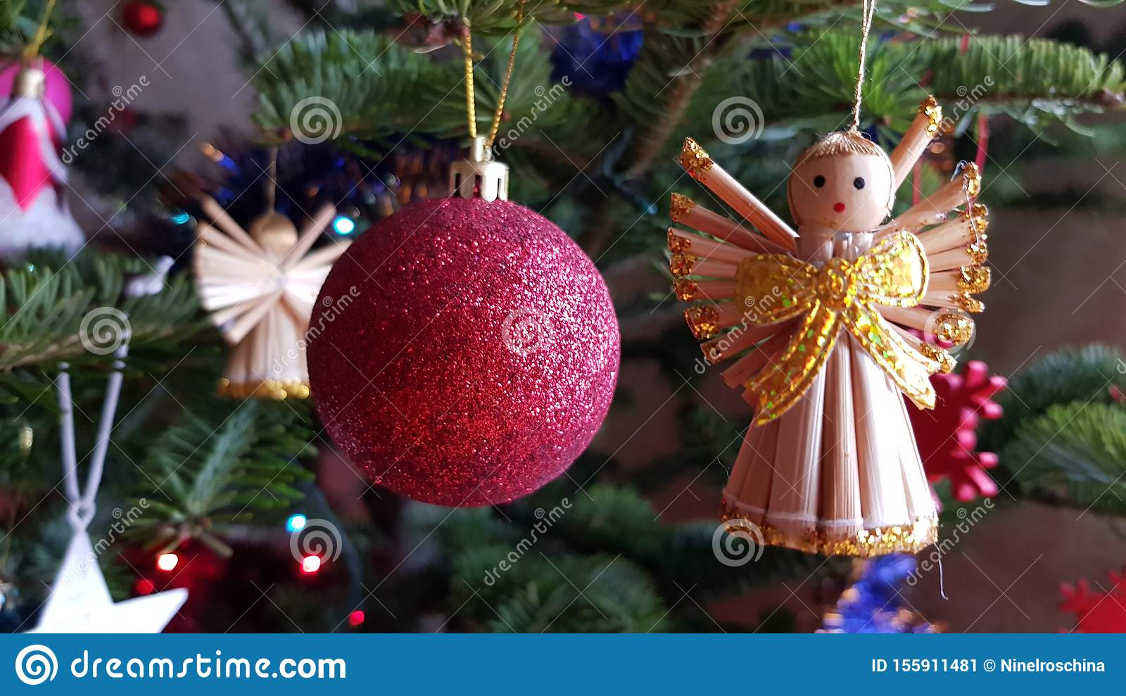 Primitive Christmas Tree.Primitive Christmas Ornament Made Of Straw In Shape Of Angel