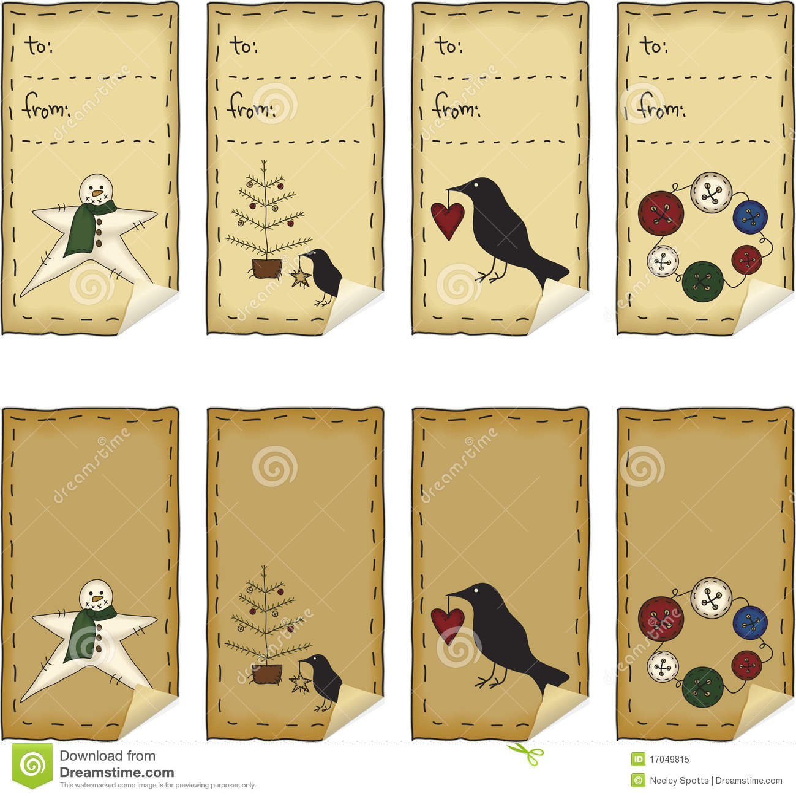 Primitive Folk Art Sticker Set