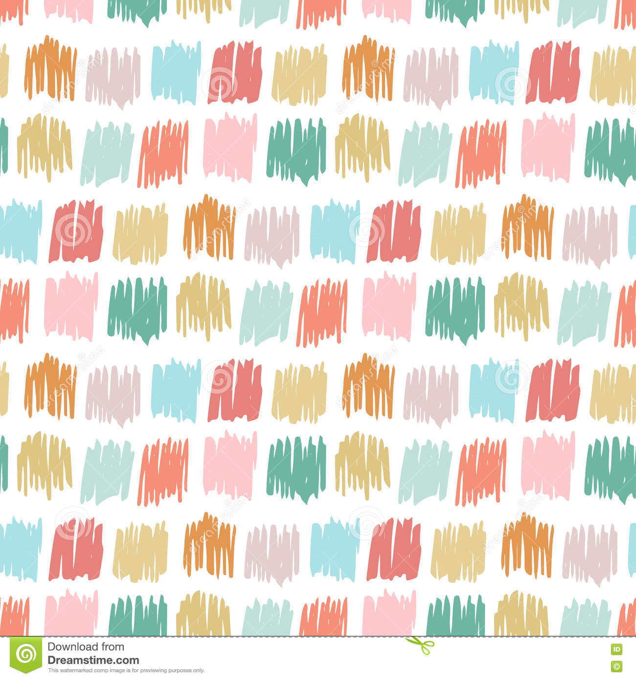 Primitive seamless pattern with freehand squares autumn for Kids pattern fabric