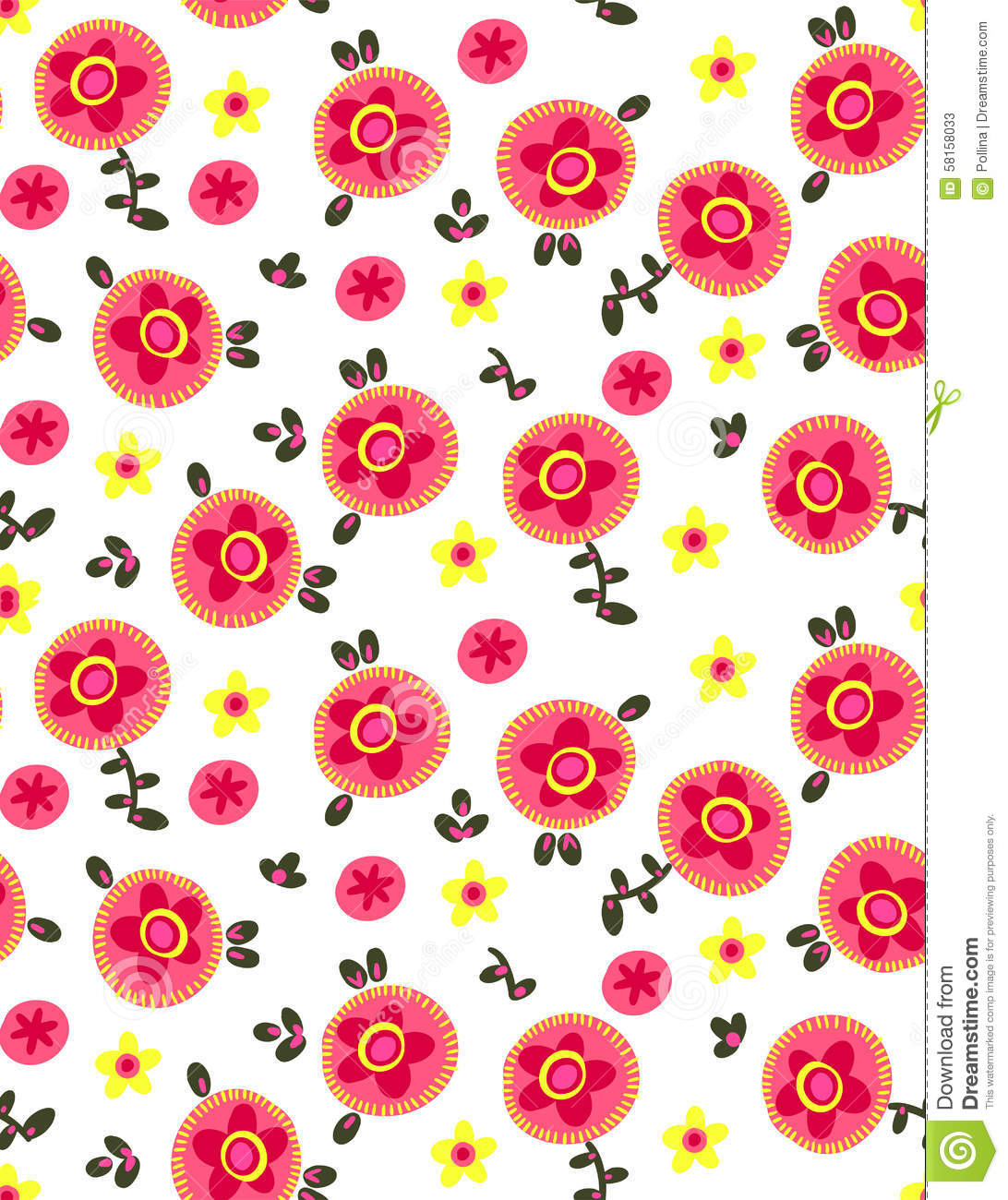 Primitive Simple Flowers Stock Vector Illustration Of Fabric 58158033