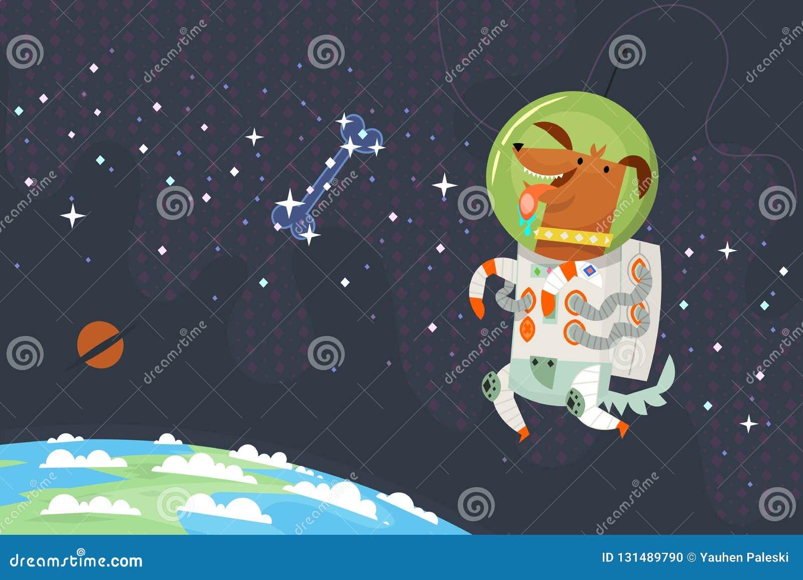 Primo astronauta del cane in tuta spaziale che galleggia nello spazio cosmico che insegue un osso dello zucchero fatto delle stel