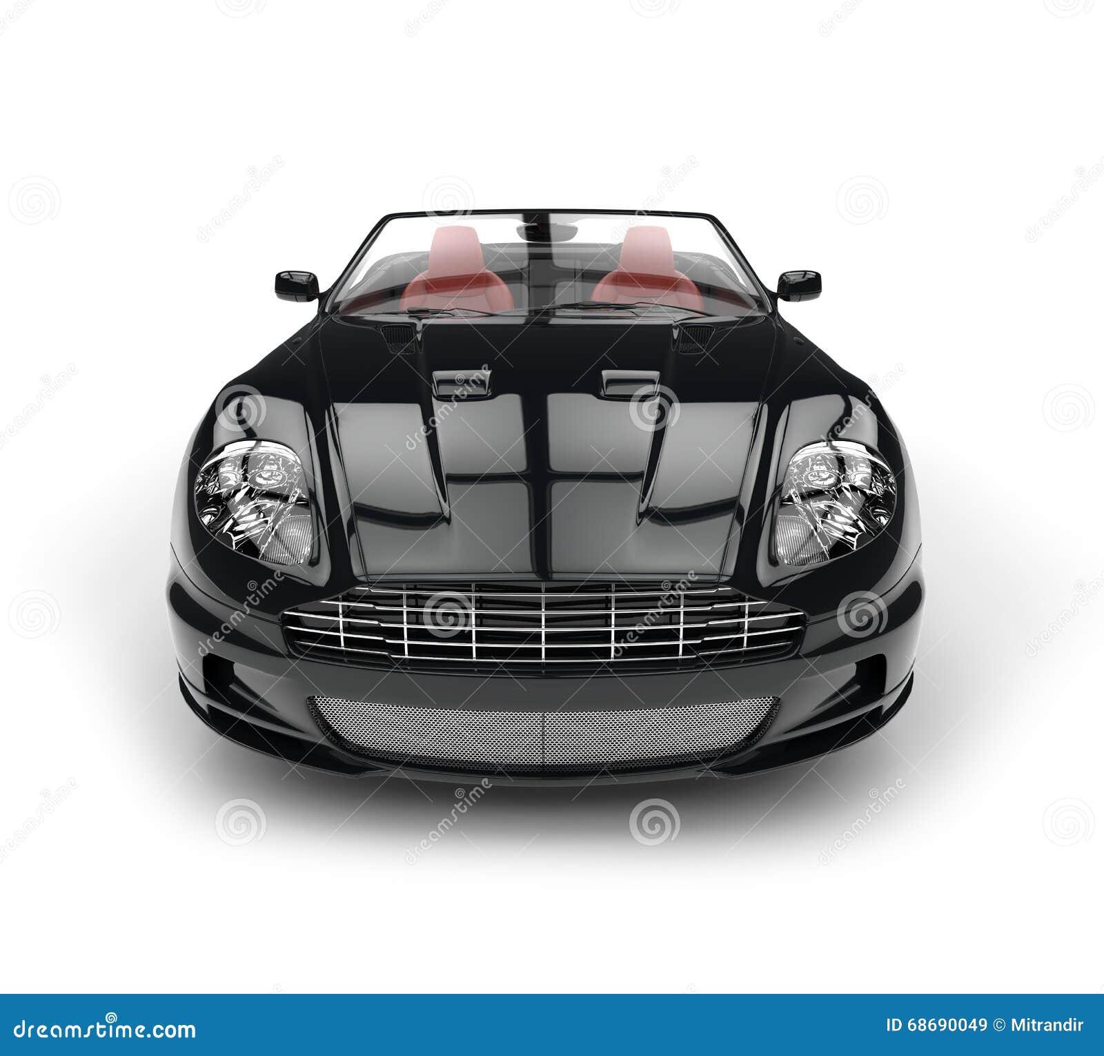 Primo piano automobilistico di estremo di vista frontale di sport convertibili neri