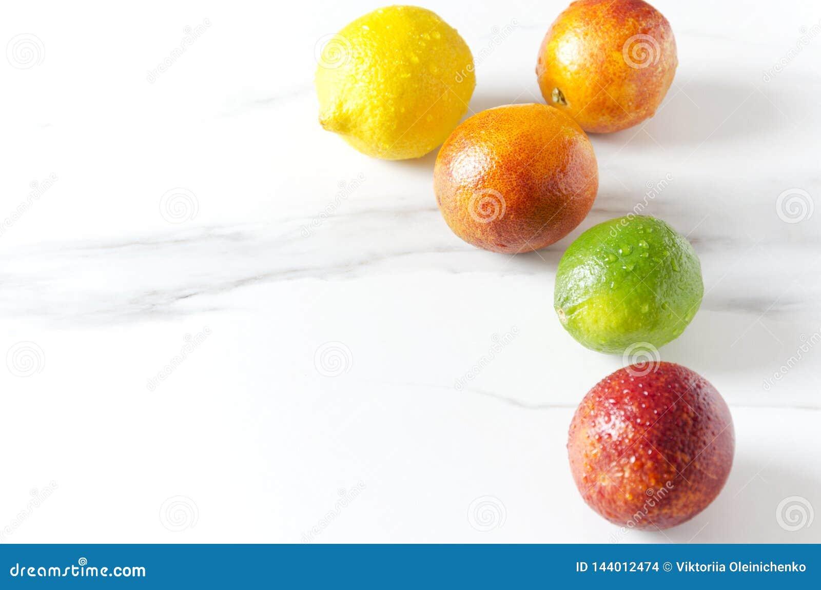 Primo piano dei frutti esotici su superficie bianca, spazio vuoto Arance sanguinelle, limetta e limone lavati freschi con le gocc