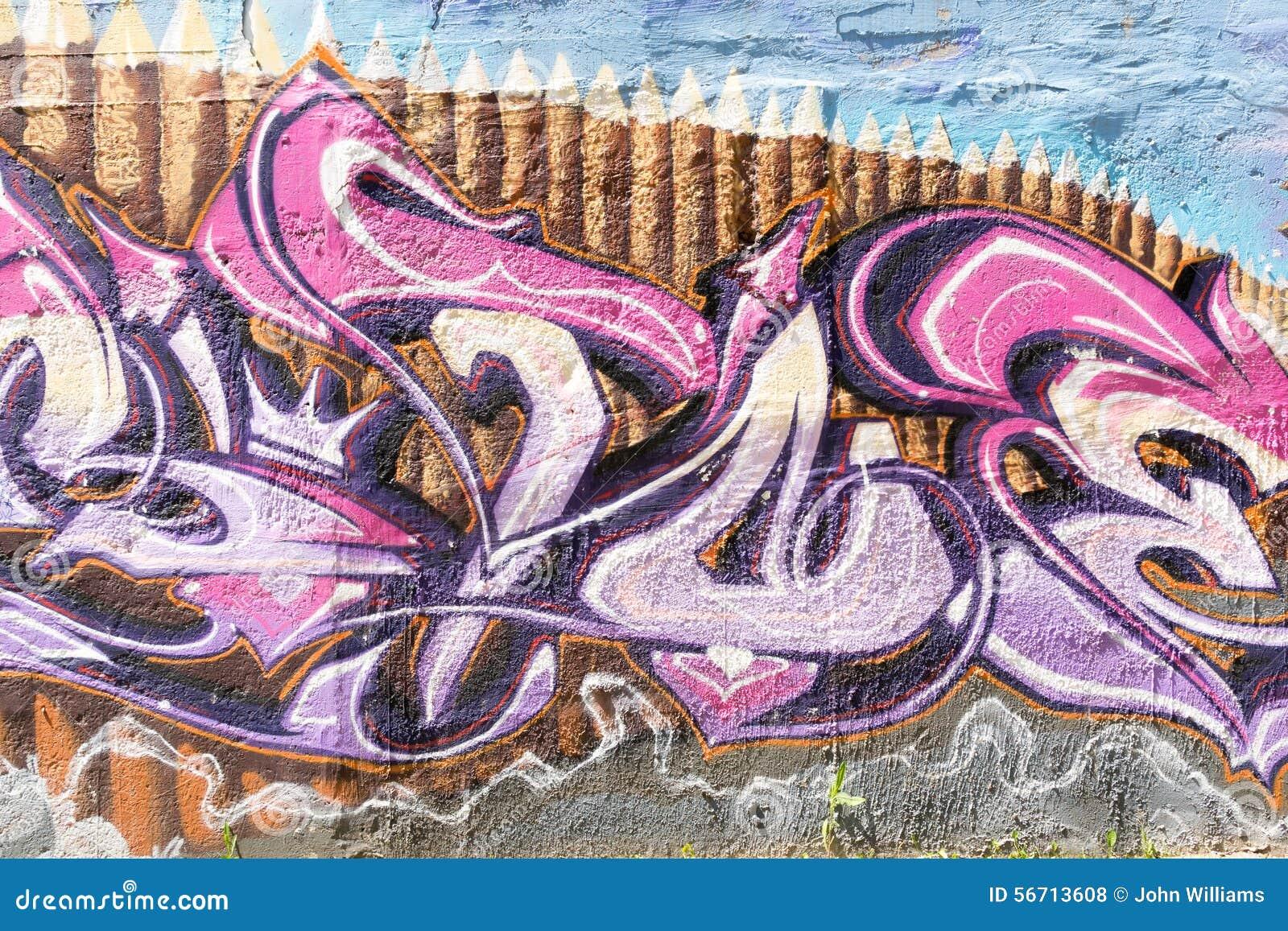 Primo Piano Dei Graffiti Moderni Del Muro Di Cinta Fotografia Stock