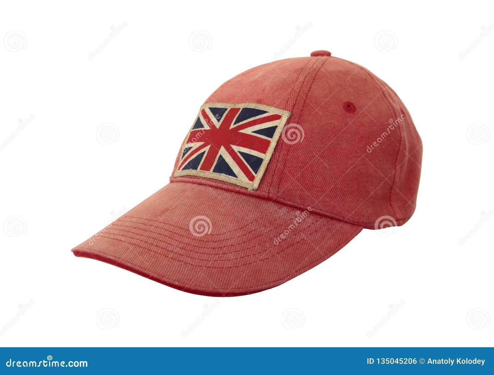 Primo piano del cappuccio stagionato grungy con la bandiera britannica su fondo bianco Concetto di Anglomania