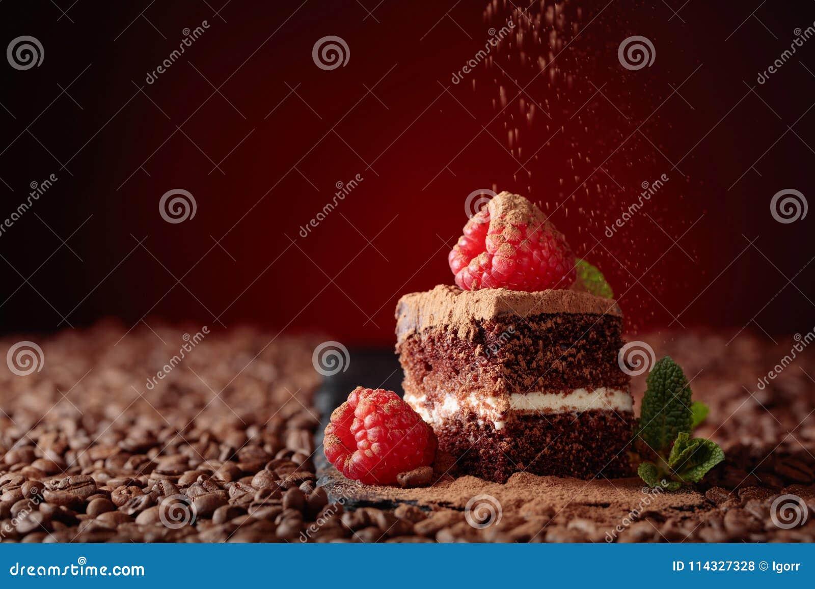 Primo piano del dolce di cioccolato con il lampone