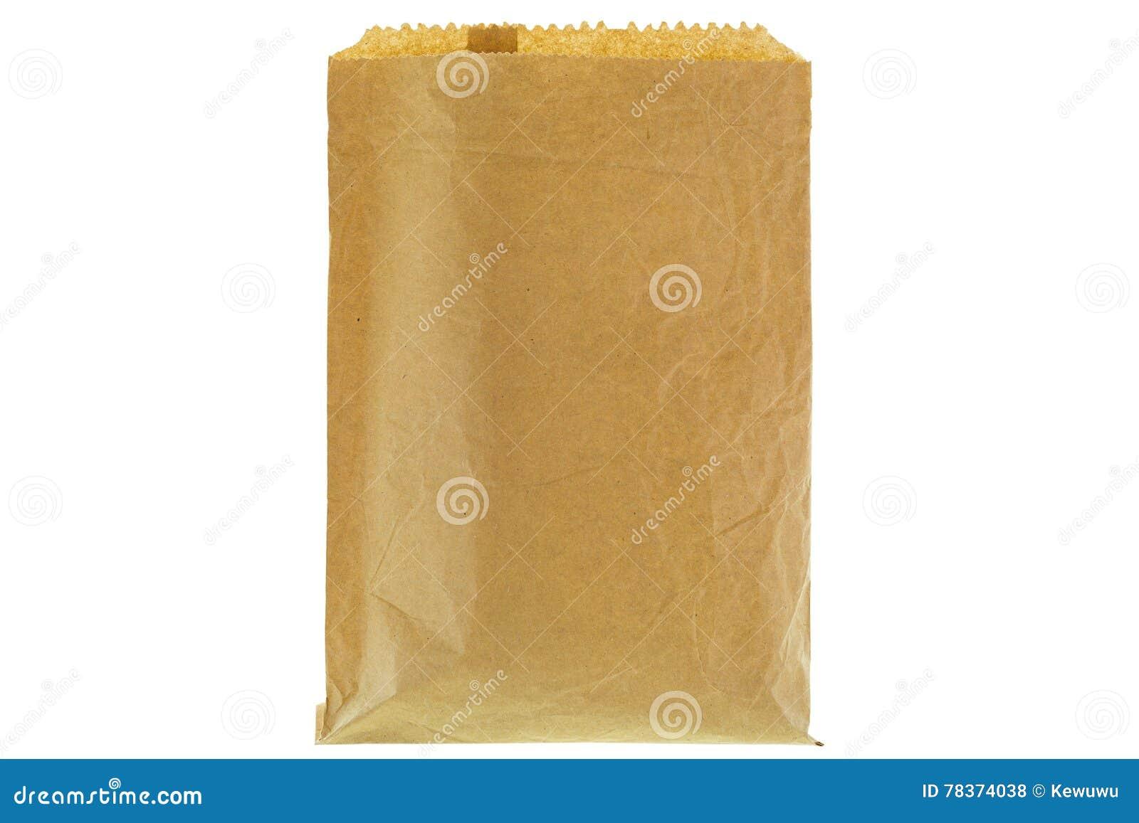 Primo piano del sacco di carta della drogheria marrone sottile rugosa, anteriore in bianco e