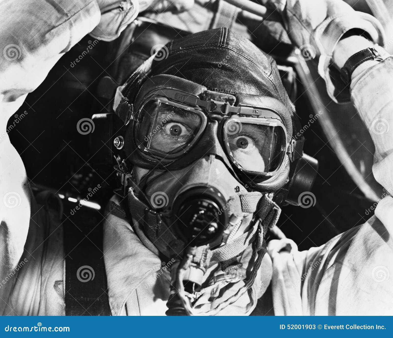 Primo piano dell aviatore nella maschera (tutte le persone rappresentate non sono vivente più lungo e nessuna proprietà esiste Ga