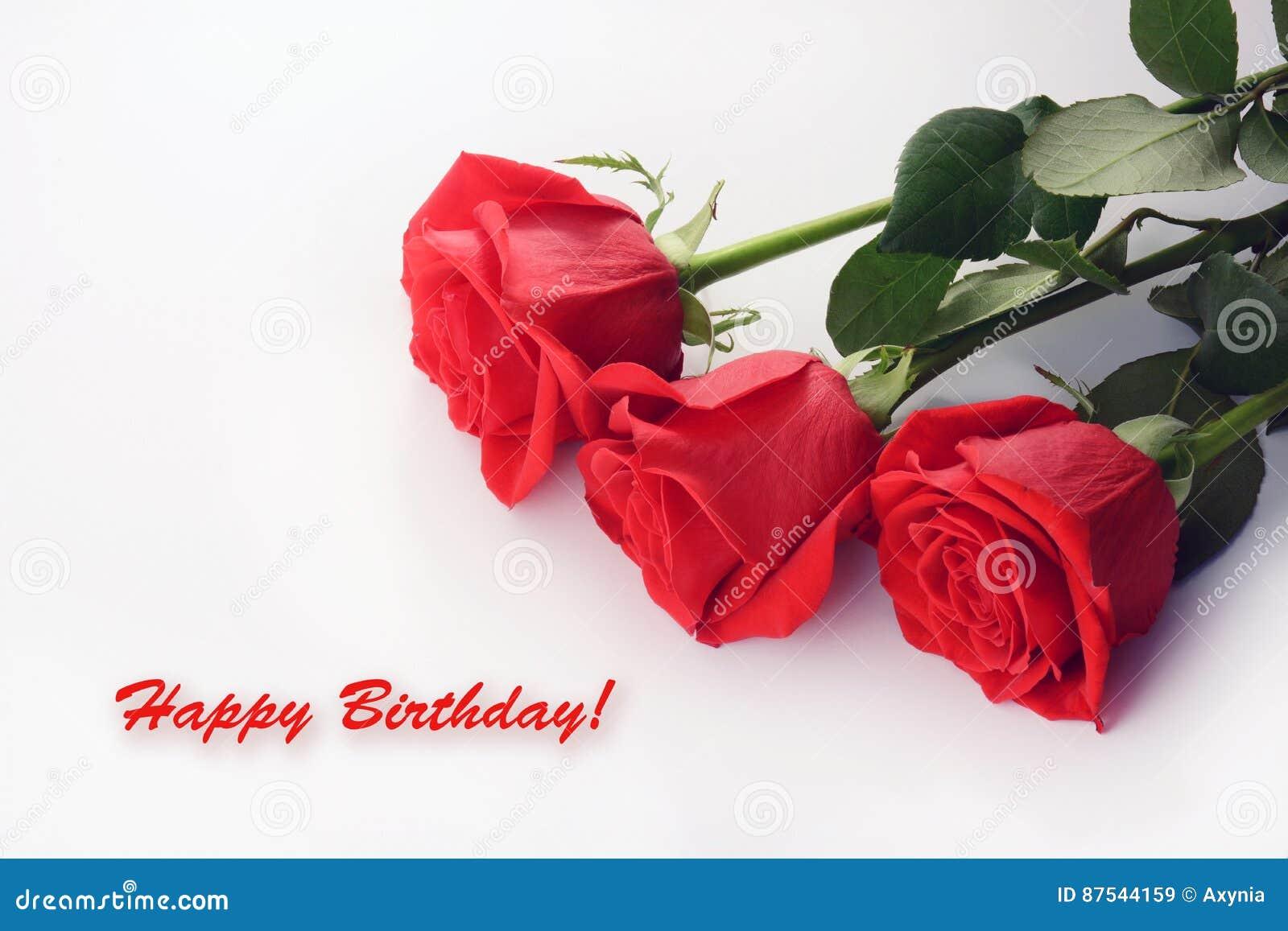 Primo Piano Delle Rose Rosse Bello Mazzo Scheda Di Buon Compleanno