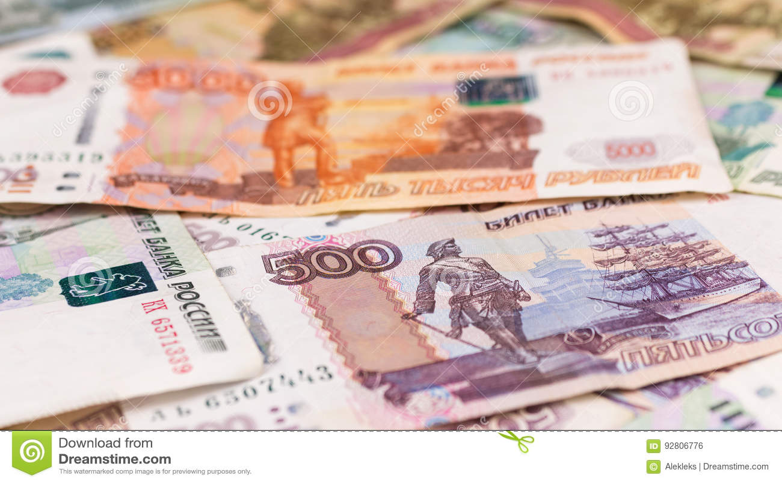 Primo piano delle rubli russe, fondo dei soldi