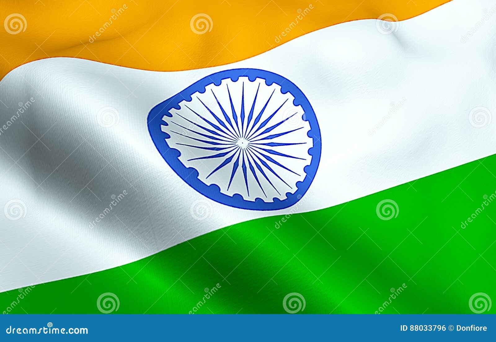 Primo piano di ondeggiamento della bandiera dell India, con la ruota blu, simbolo nazionale dell indù indiano