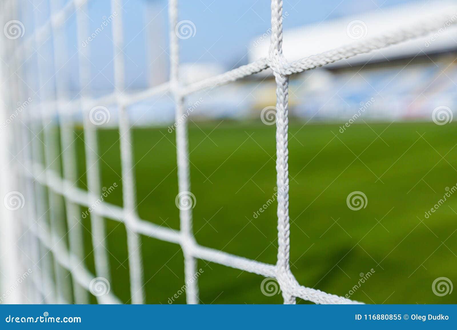 Primo piano di una rete di calcio