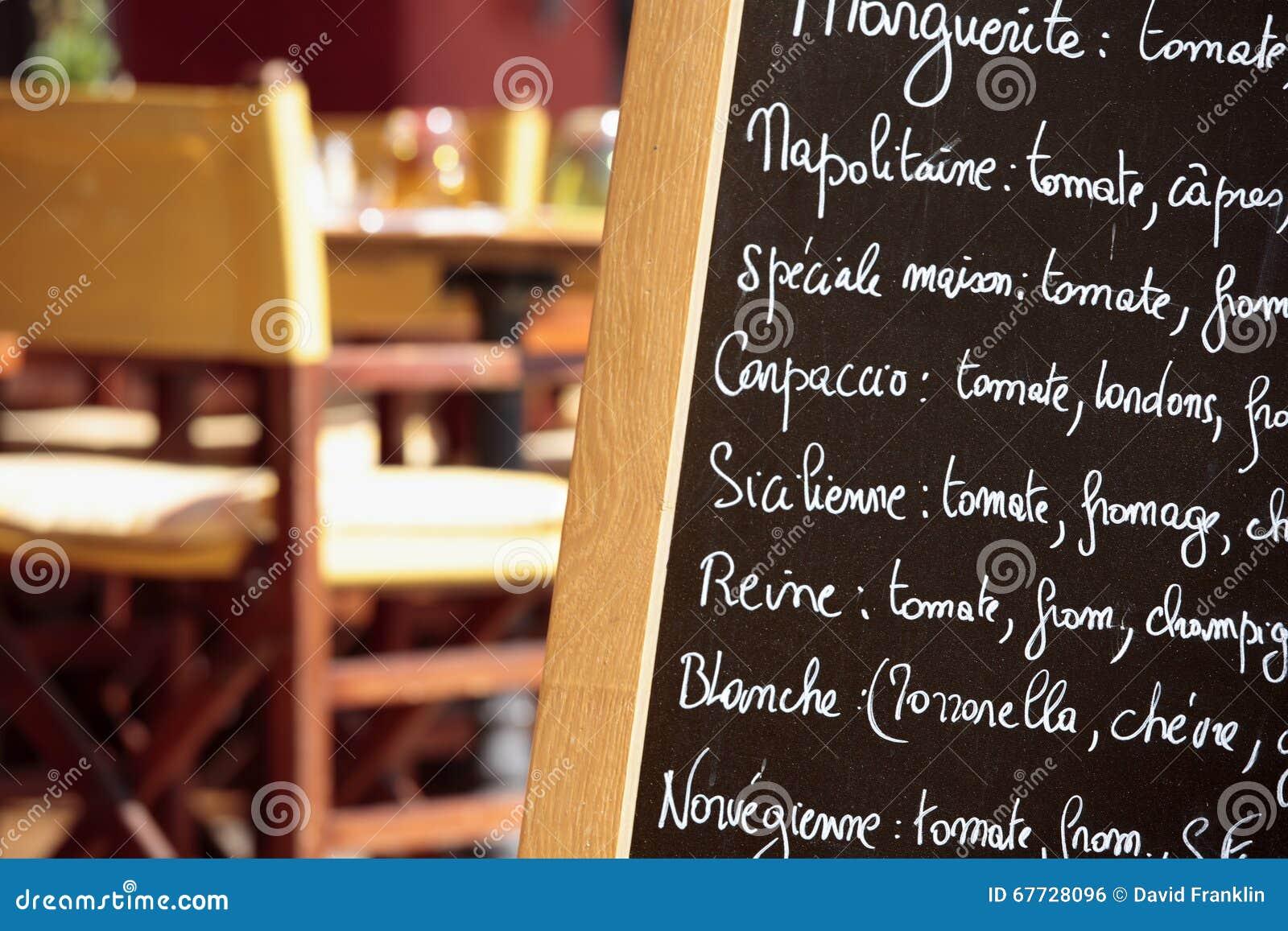 Primo piano francese del bordo del menu di parigi francia for Miglior ristorante di parigi