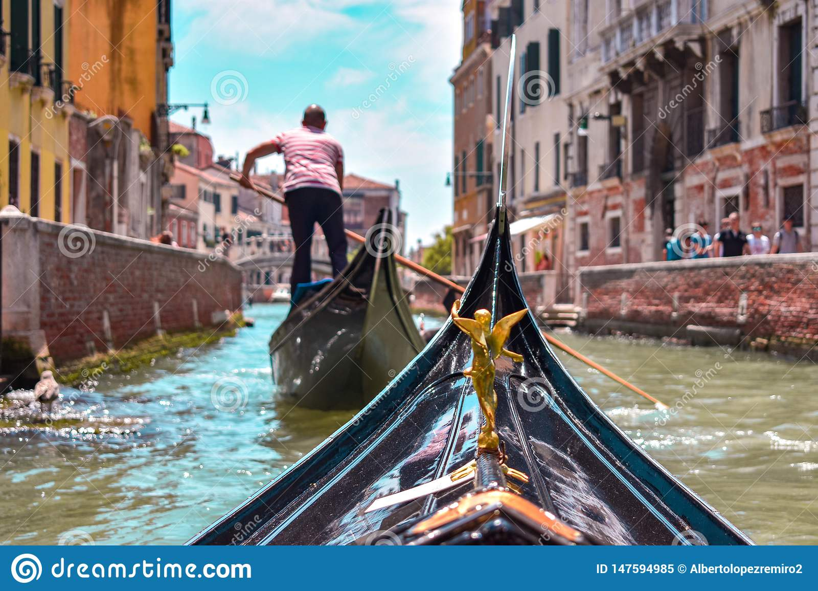 Primo punto di vista della persona da una gondola a Venezia
