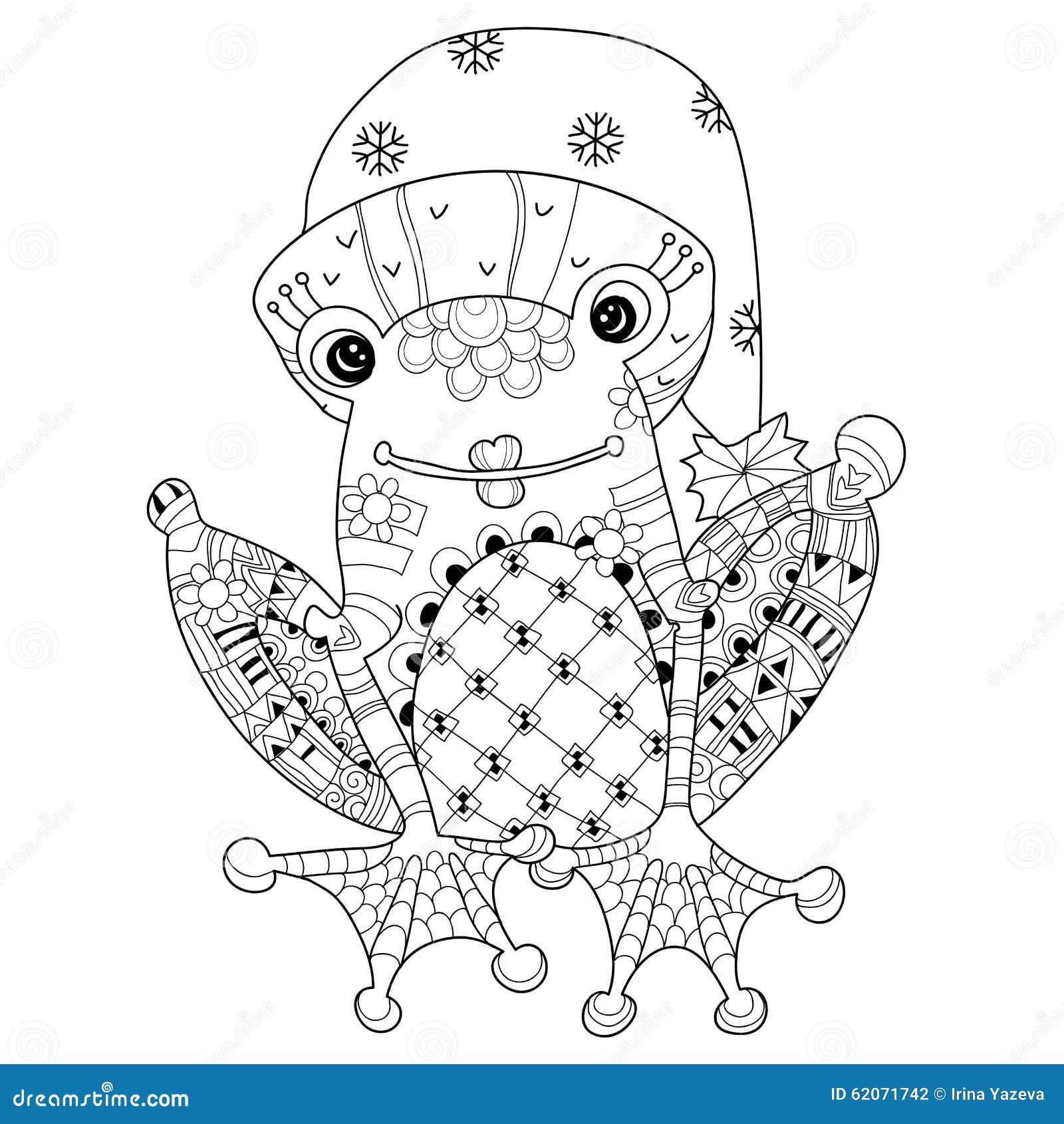 Coloriage Grenouille Mandala.Prince Mignon De Grenouille Dans Le Chapeau De Noel Croquis De