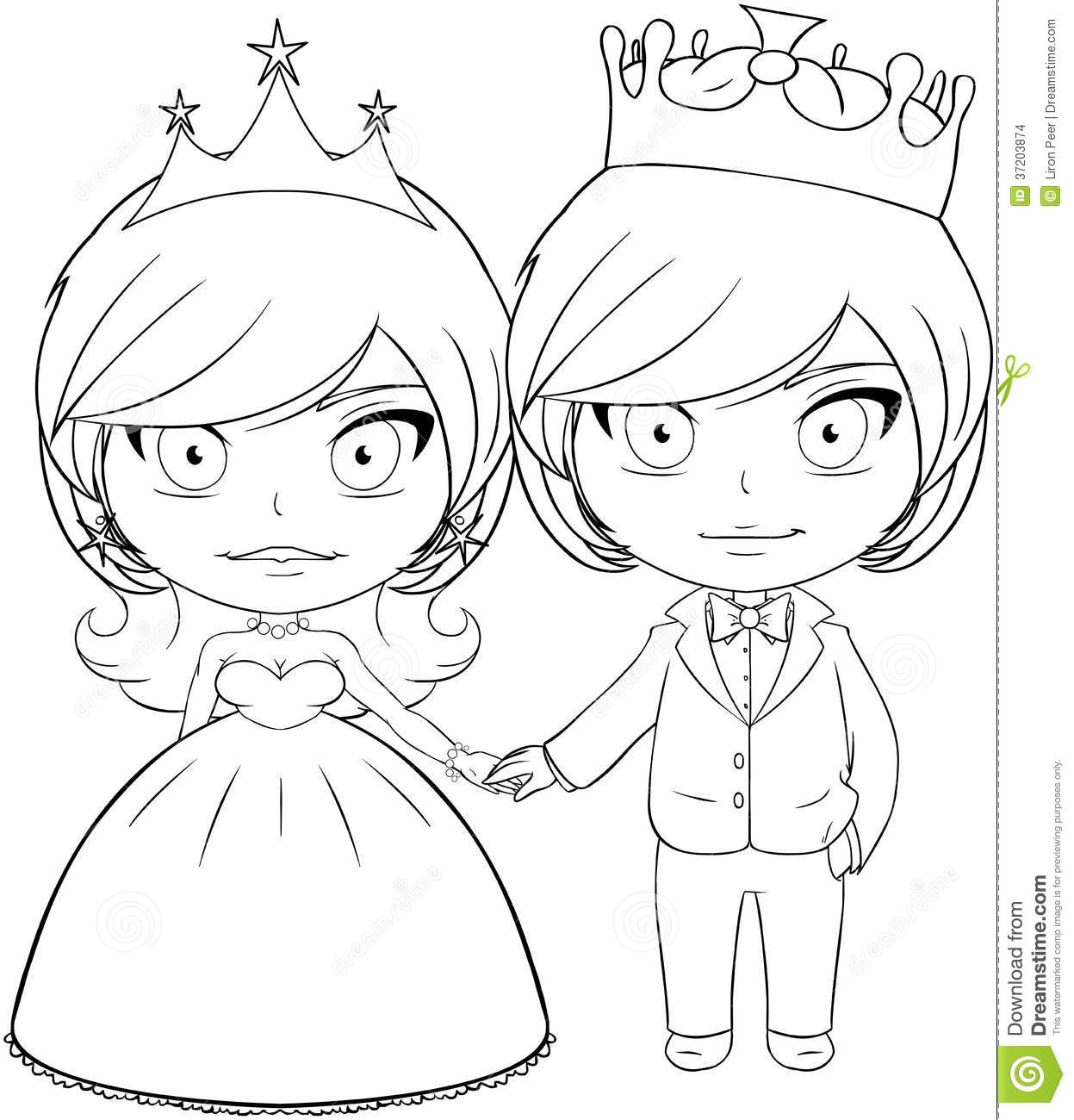 prince and princess coloring page 2 royalty free stock image