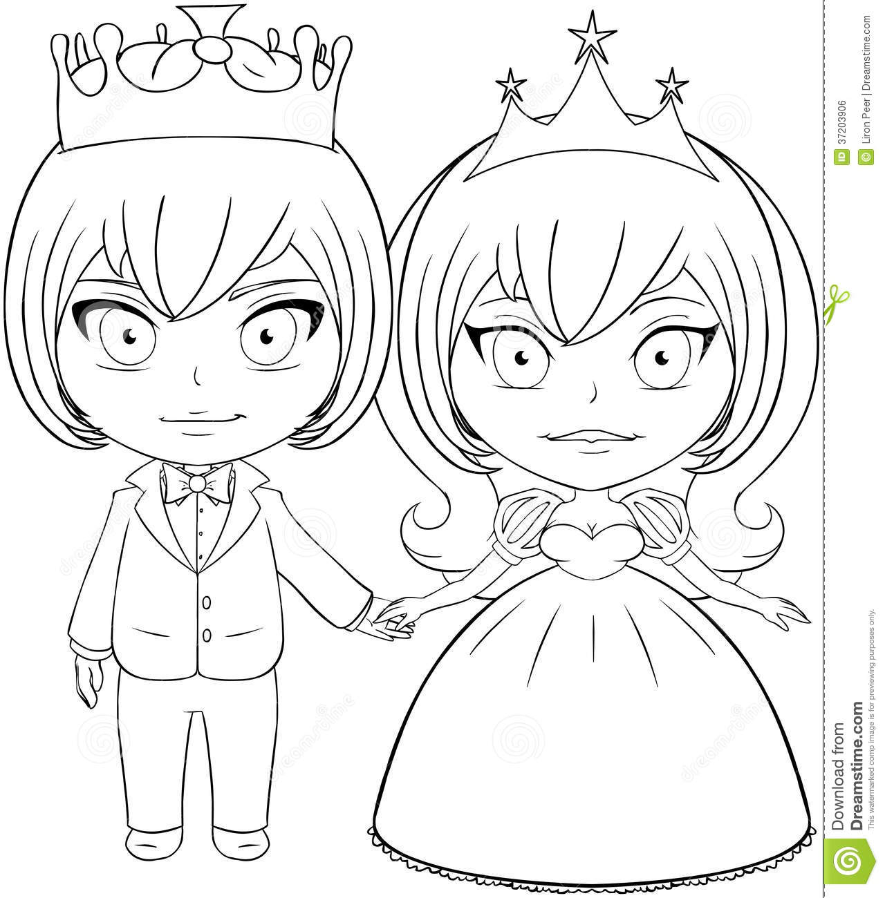 Prince And Princess Coloring Page 2 Stock Vector - Image