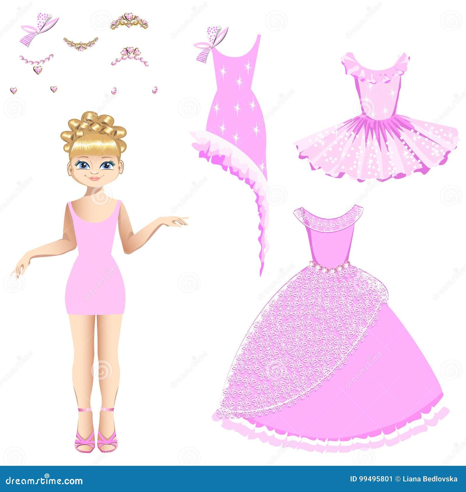 Princesa bonita com uma coleção dos vestidos e dos acessórios