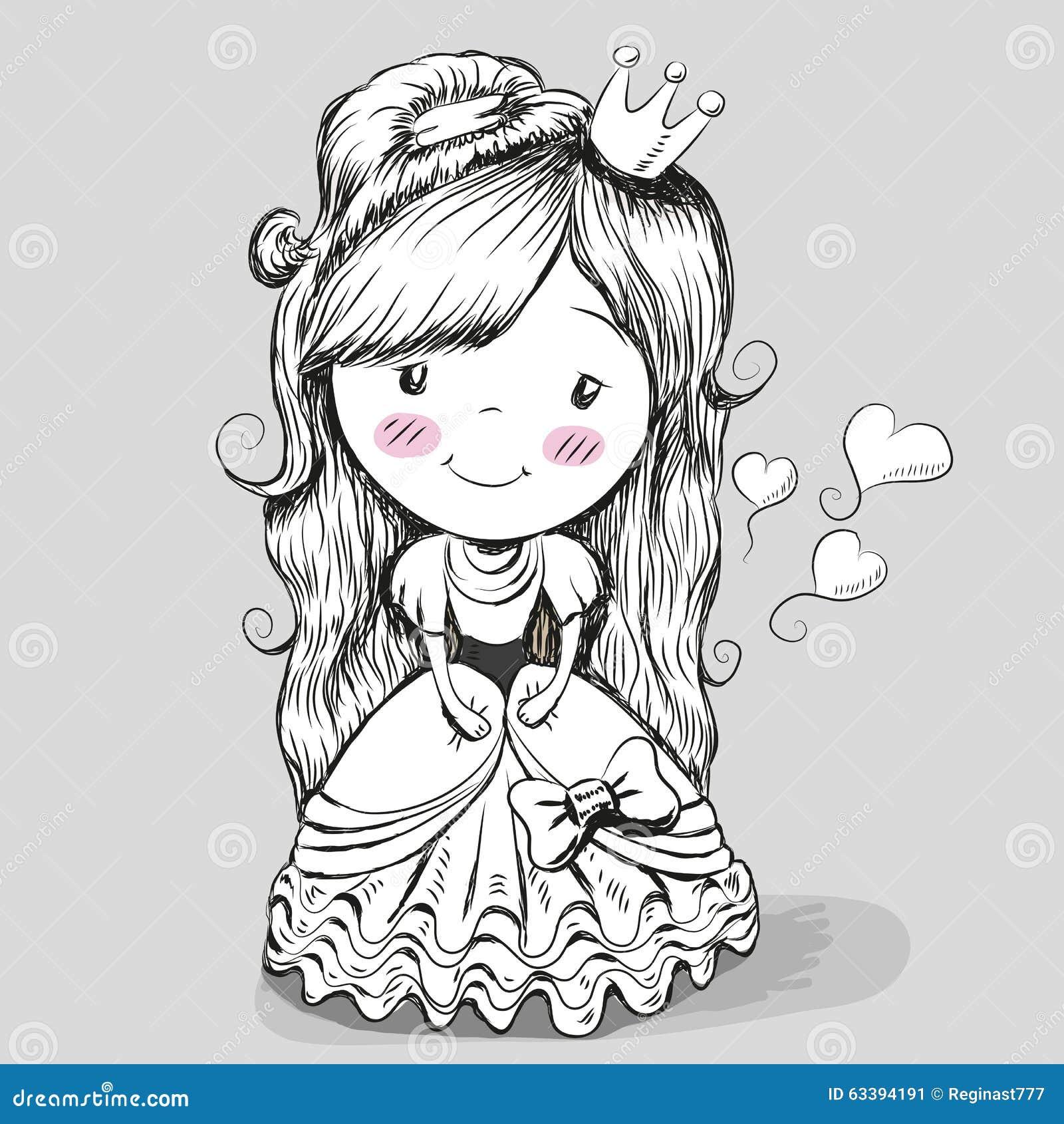 Princesa Bonita Del Dibujo Ilustración Del Vector Ilustración De