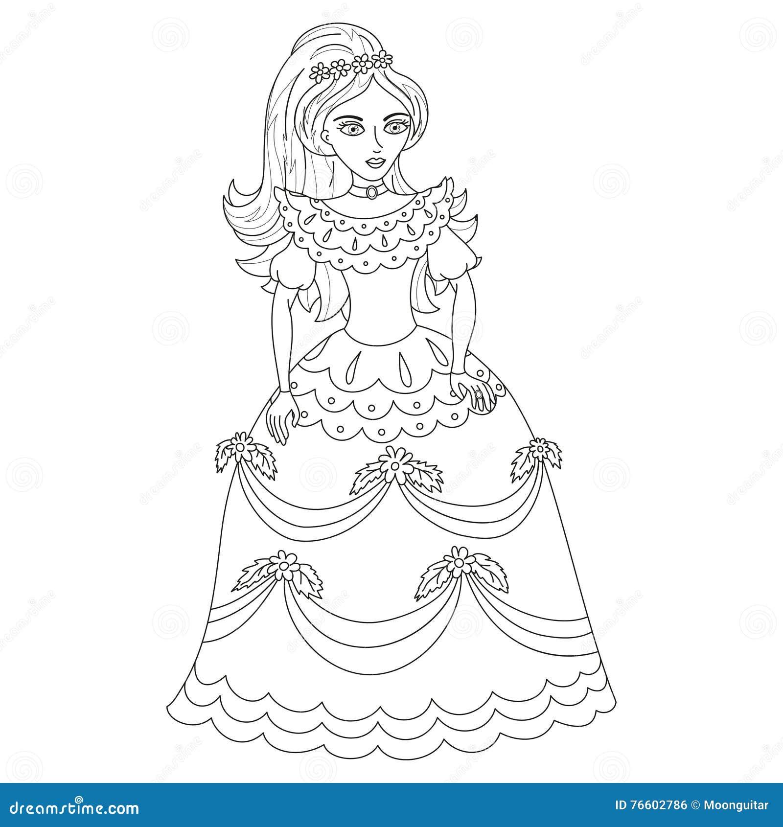 Princesa Bonita No Vestido Elegante Pagina Do Livro Para Colorir