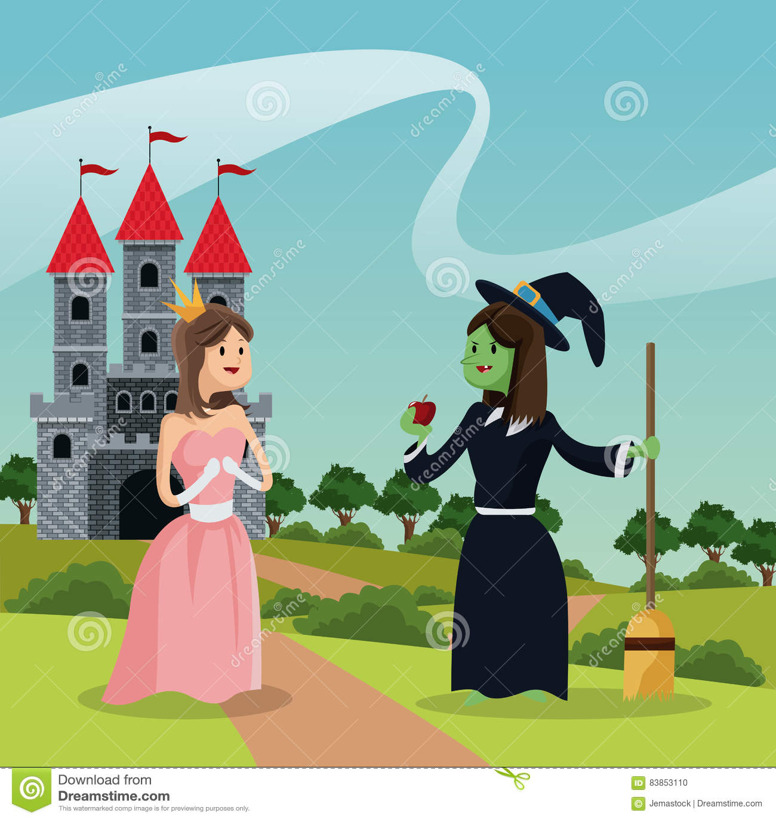 Princesa com a bruxa feia que dá o castelo e a paisagem da maçã