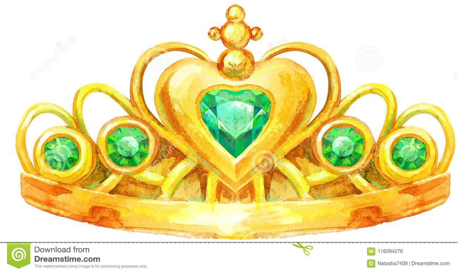 Coroa De Princesa Desenho: Princesa De Coroa Dourada Da Aquarela Ilustração Stock