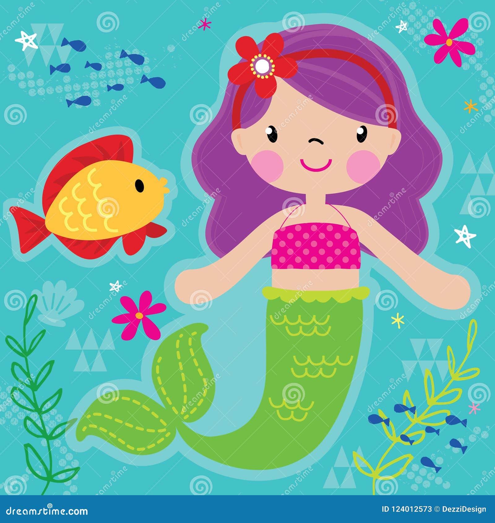 Princesa de la sirena y amigo bonitos de los pescados