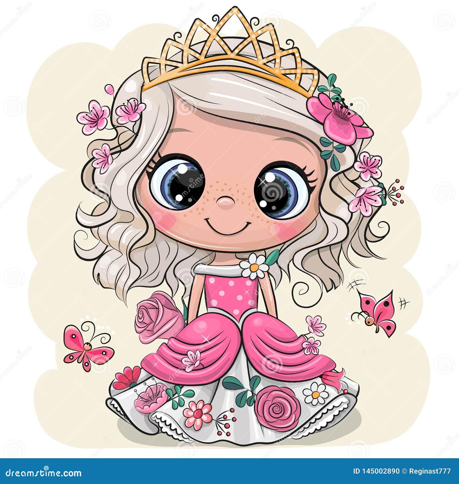 Princesa Dos Desenhos Animados Com Flores Em Um Fundo Amarelo