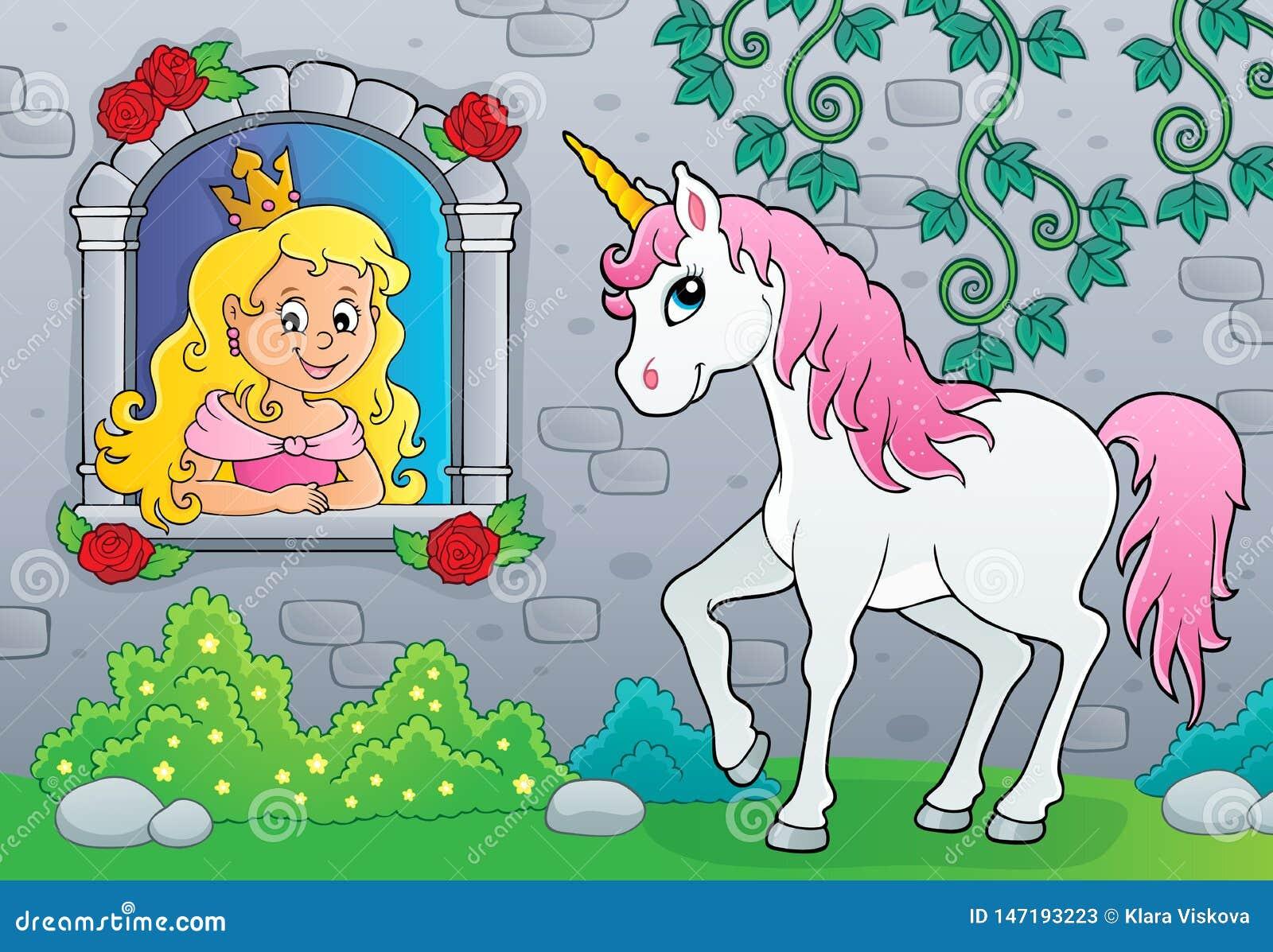 Princesa en la ventana y el tema 2 del unicornio