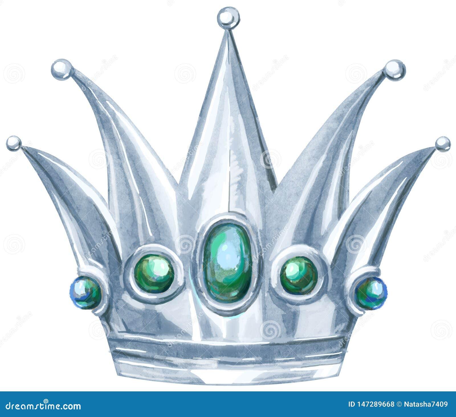 Princesa Real de plata de la acuarela con las piedras preciosas