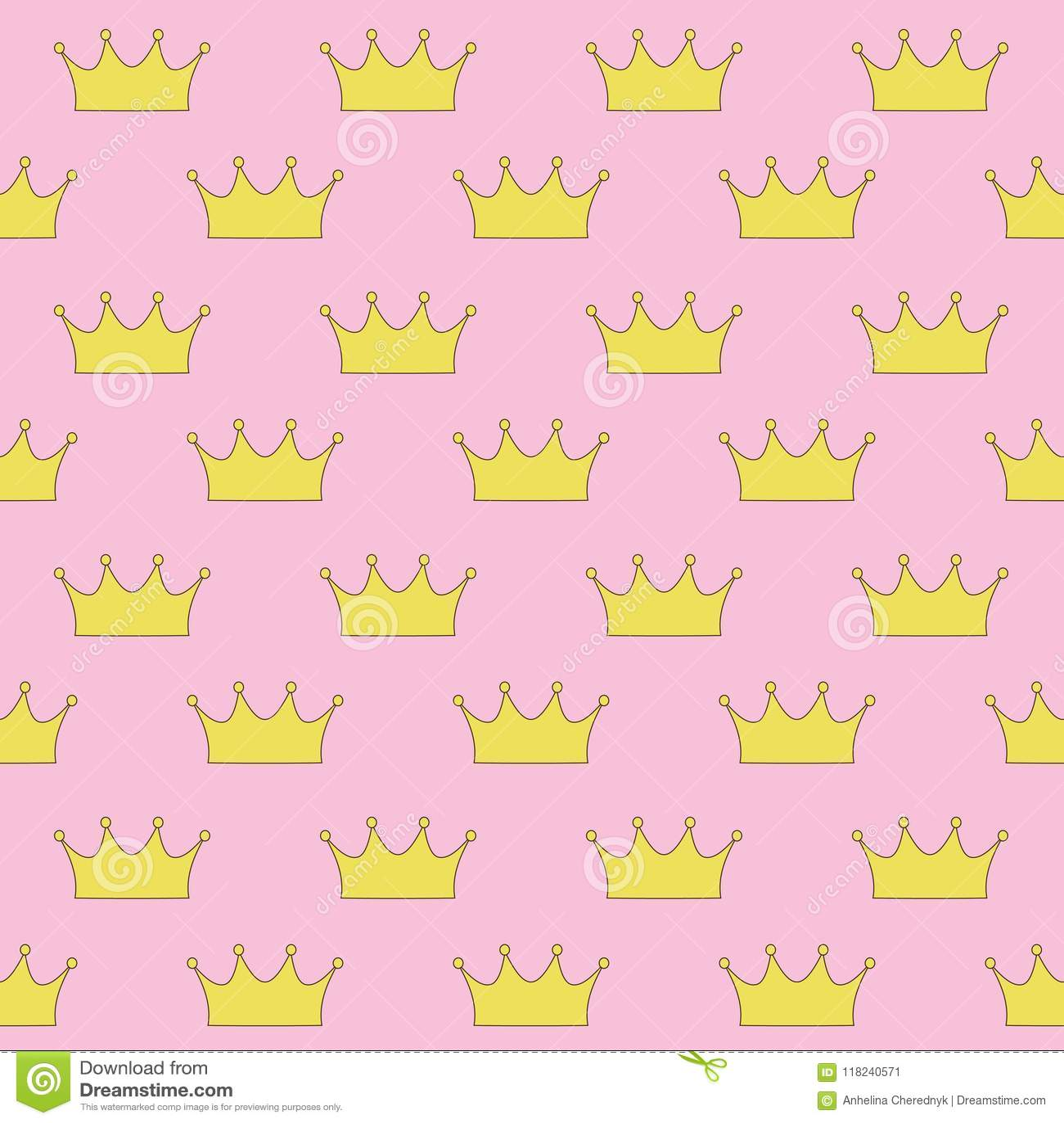 Princesa Real O Reina Del Oro En Modelo Inconsútil Del Fondo Rosado