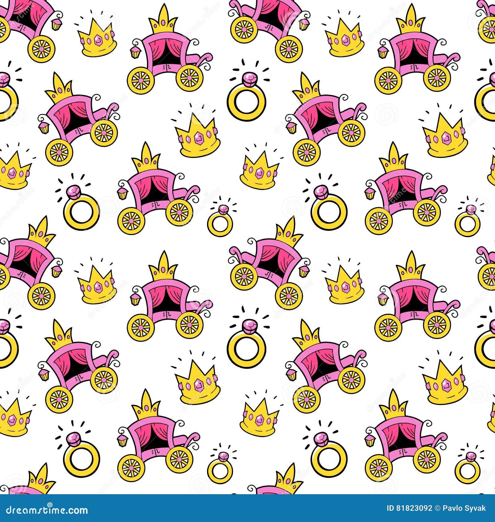 Princesa Seamless Background da menina com treinador, coroas e anéis da rainha