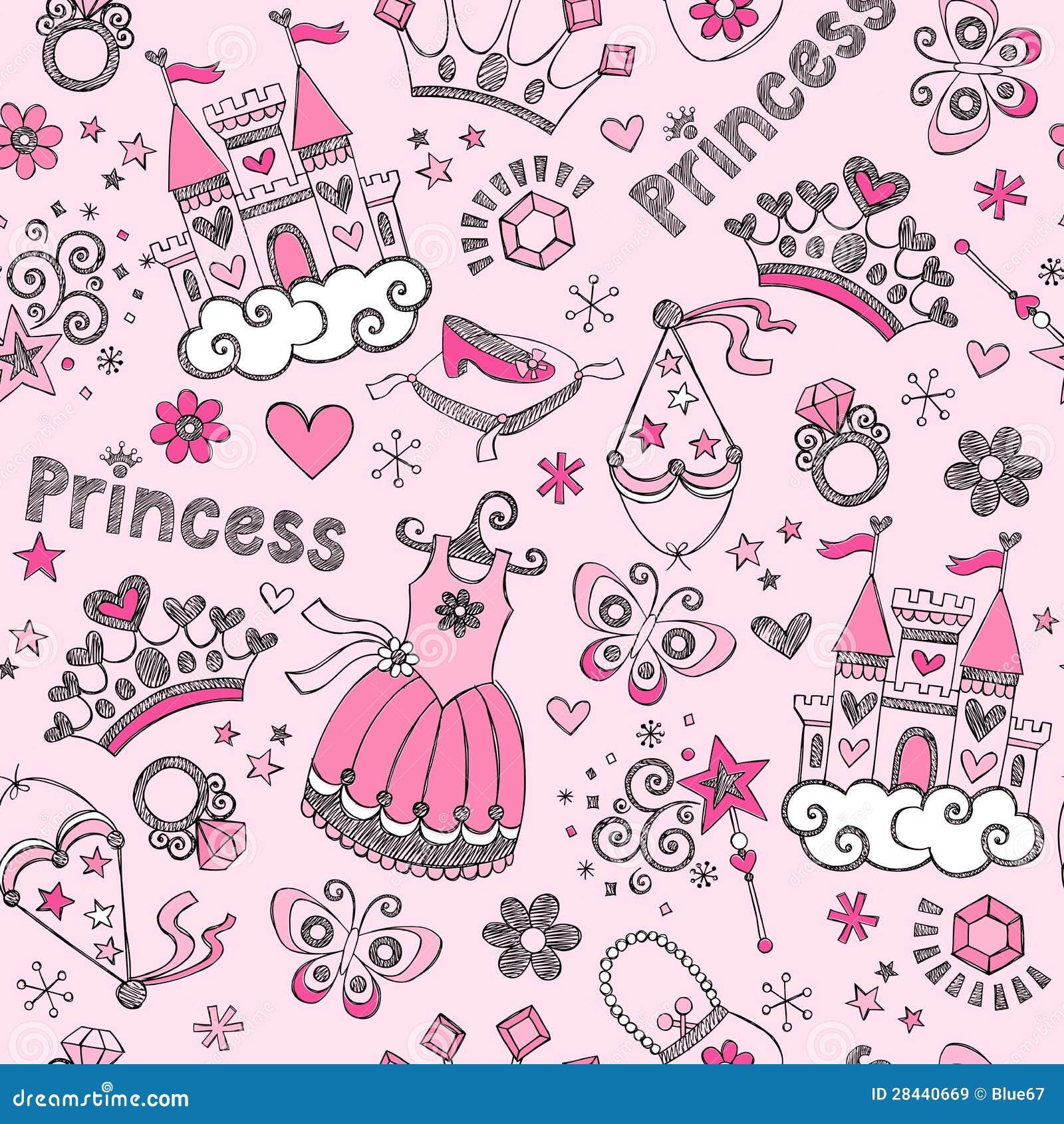 Princesa Seamless Pattern Sketchy Doodl del cuento de hadas