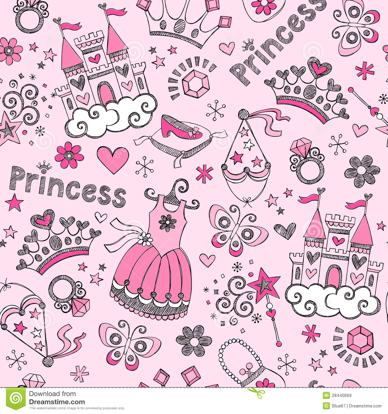 Princesa Seamless Pattern Sketchy Doodl do conto de fadas