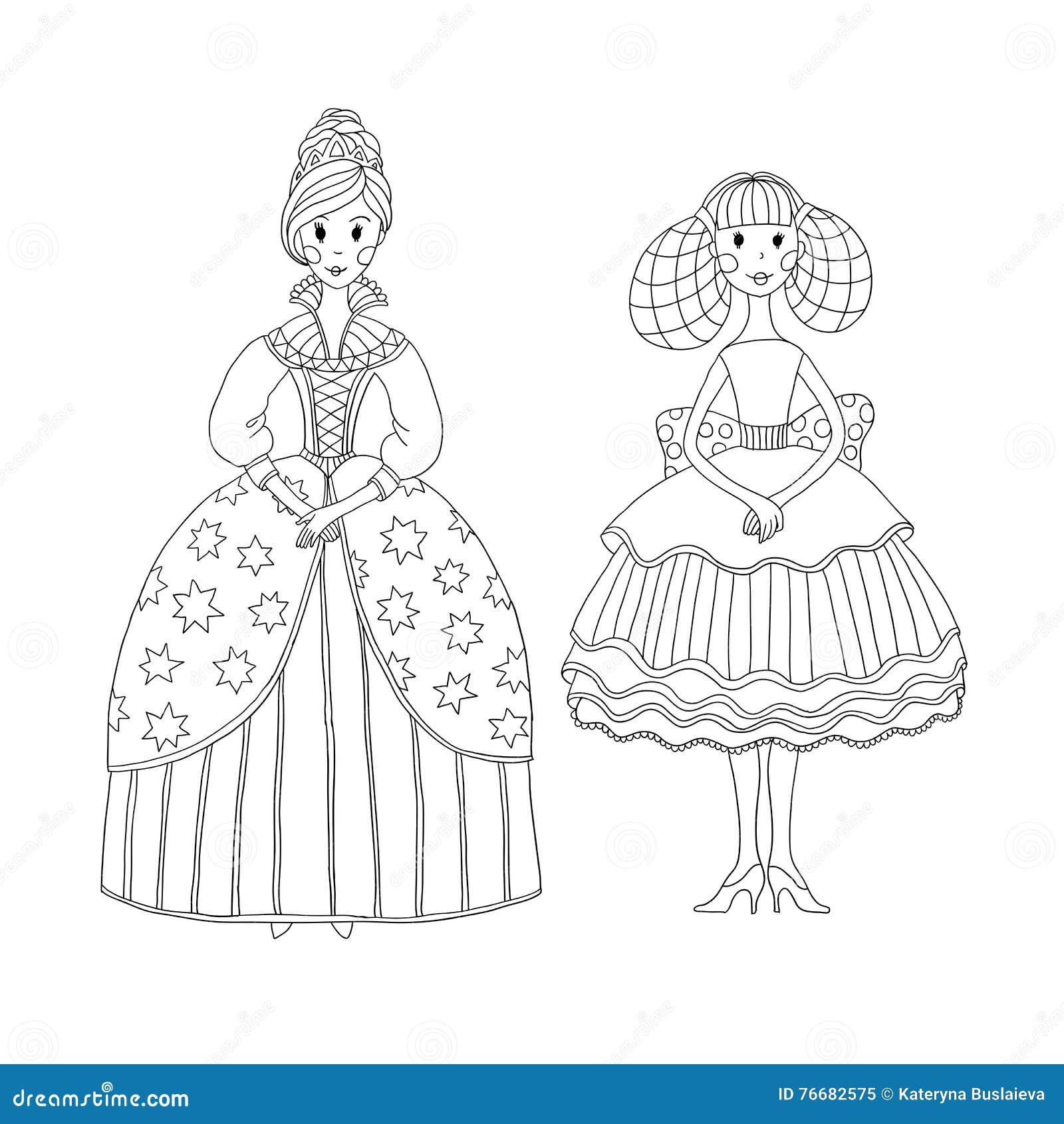 Princesa Y Bailarina Para El Libro De Colorear Ilustración del ...