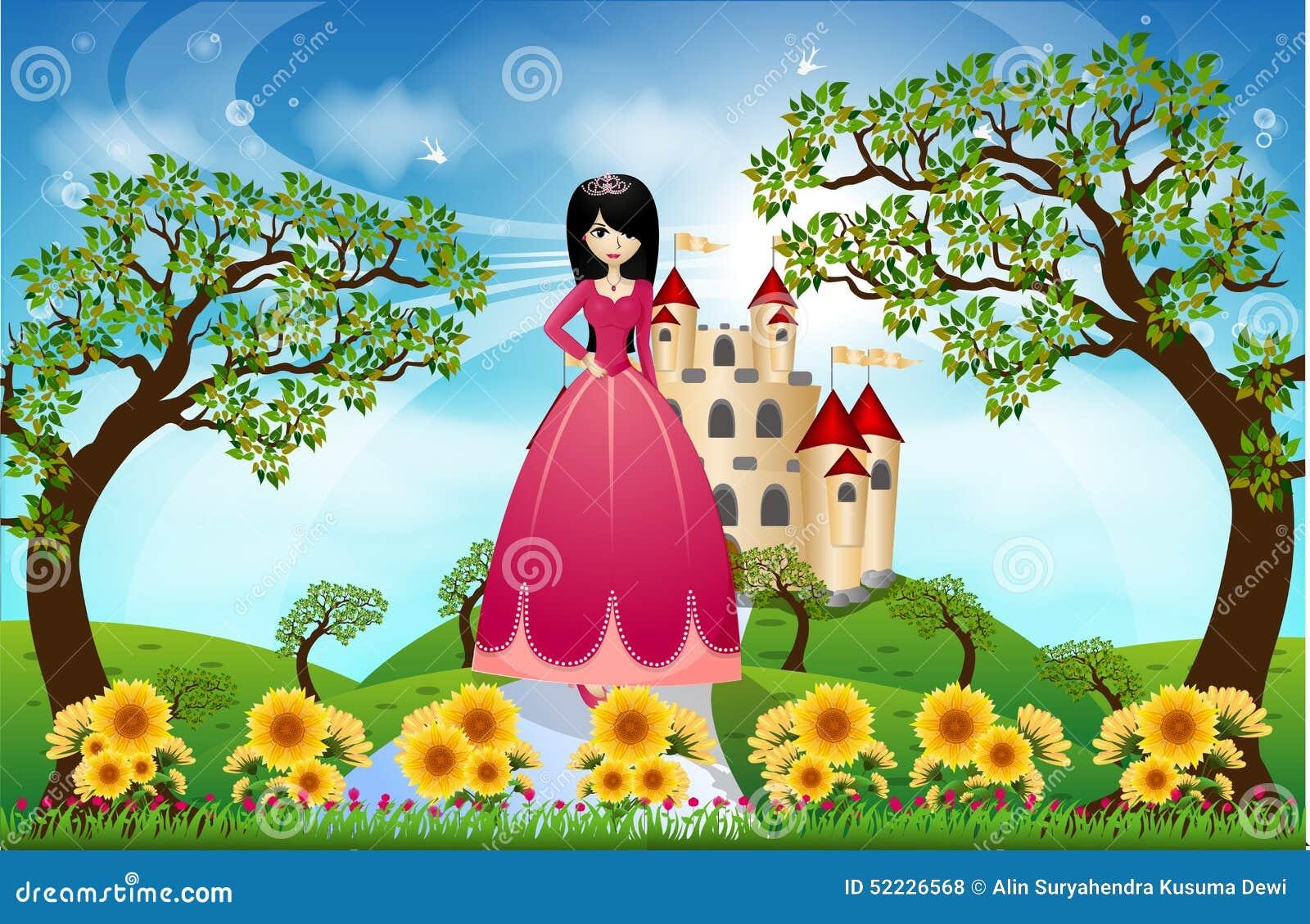 princesa y castillo hermosos ilustraci n del vector