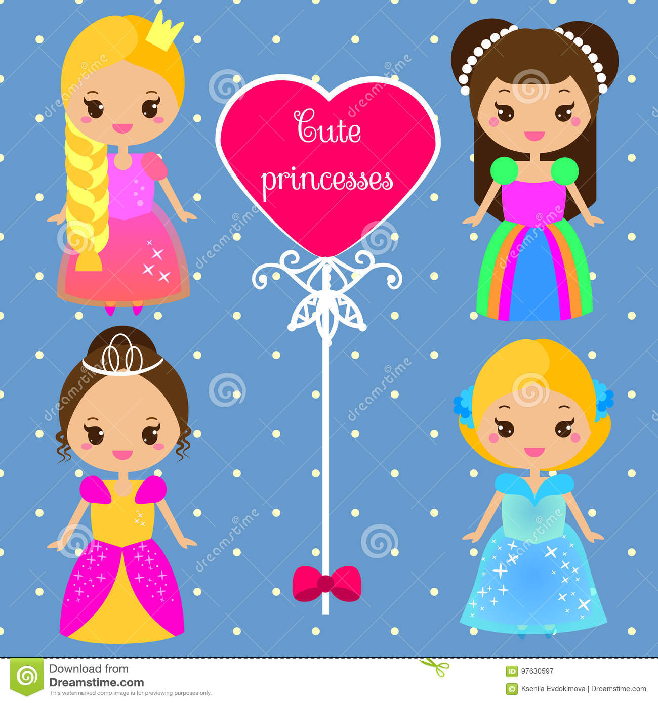 Princesas Bonitos Em Vestidos Coloridos No Estilo Do Kawaii