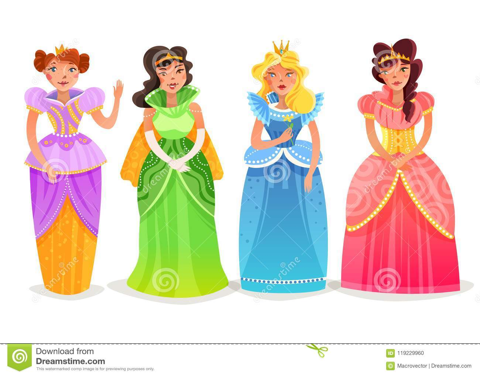 Princesas Desenhos Animados Ajuste Ilustracao Do Vetor